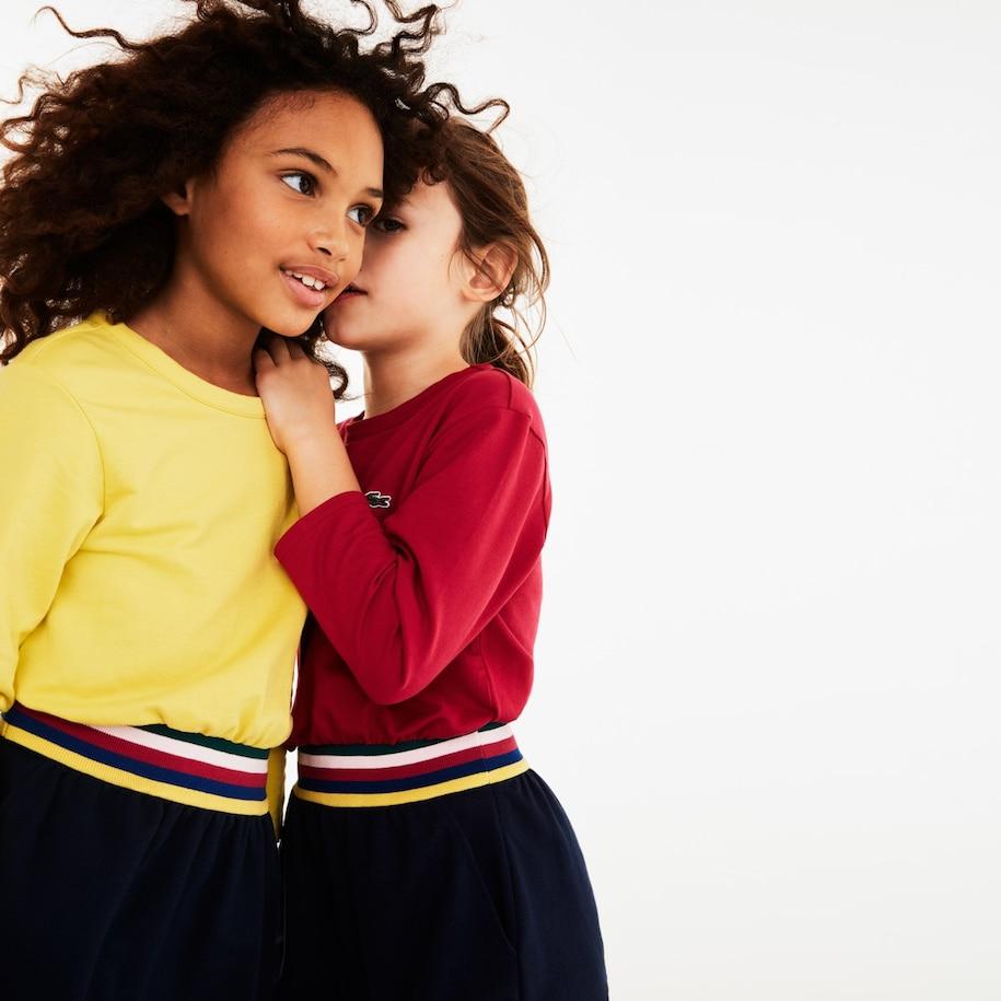 Girls' Striped-Waist Color-Blocked Fleece Dress