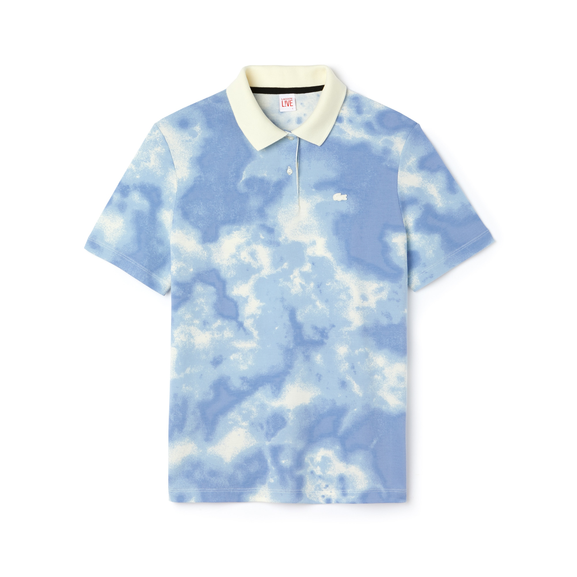 Women's LIVE Boxy Fit Cloud Print Cotton Mini Piqué Polo