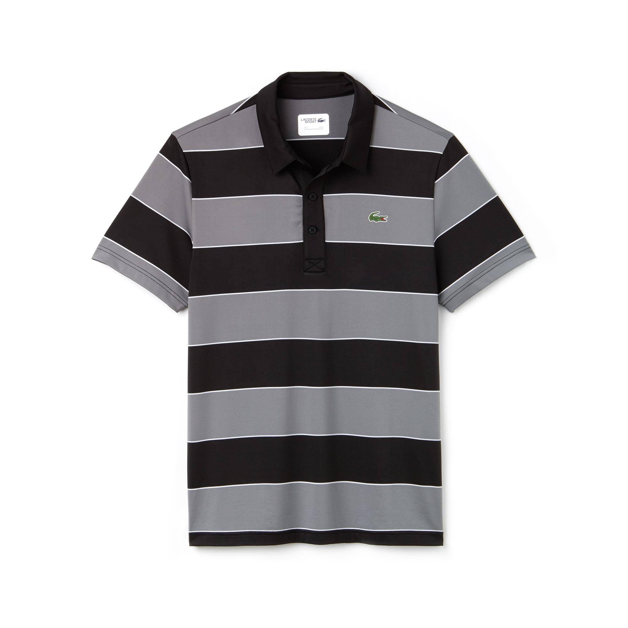 라코스테 스포츠 반팔 카라티 Lacoste Mens SPORT Striped Stretch Jersey Golf Polo,black/lead grey-white