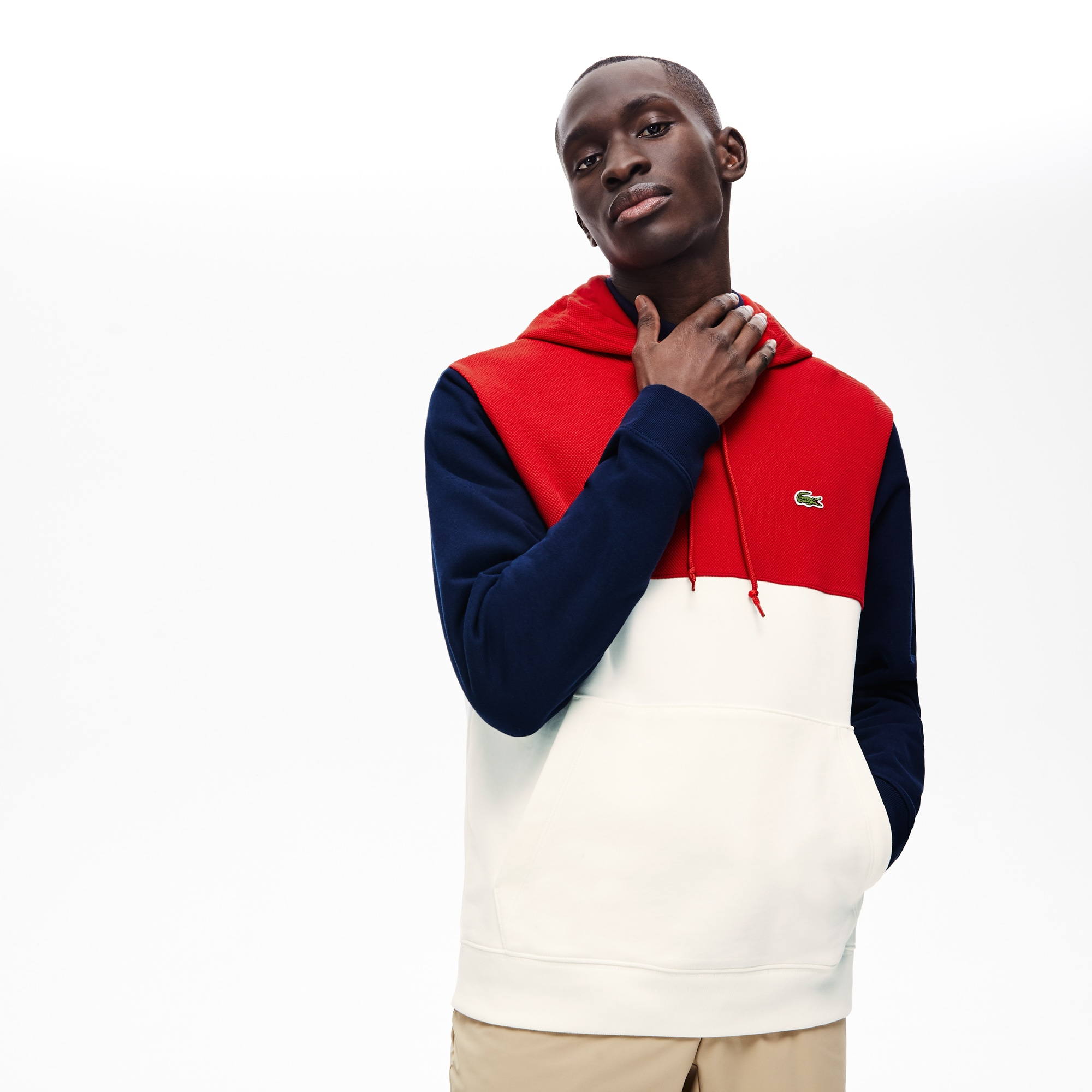 Men's Cotton-Piqué and French Terry Colorblock Sweatshirt