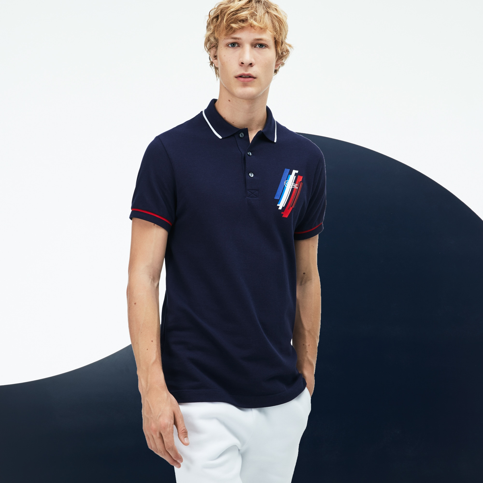 Men's Tricolor Collection Design Two-Ply Petit Piqué Polo