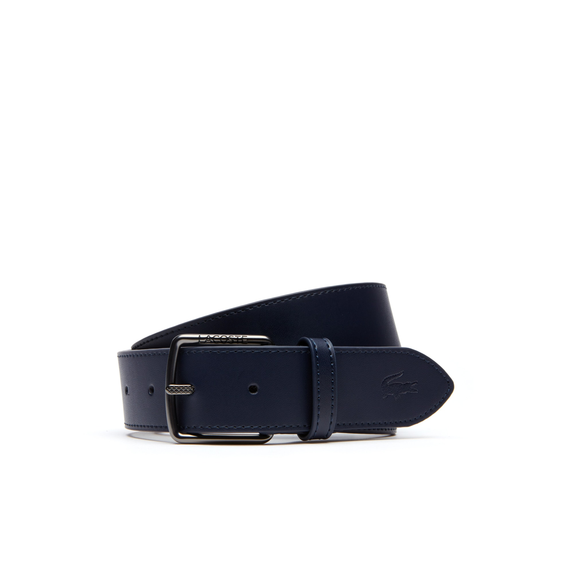 Men's Engraved And Petit Piqué Tongue Buckle Leather Belt