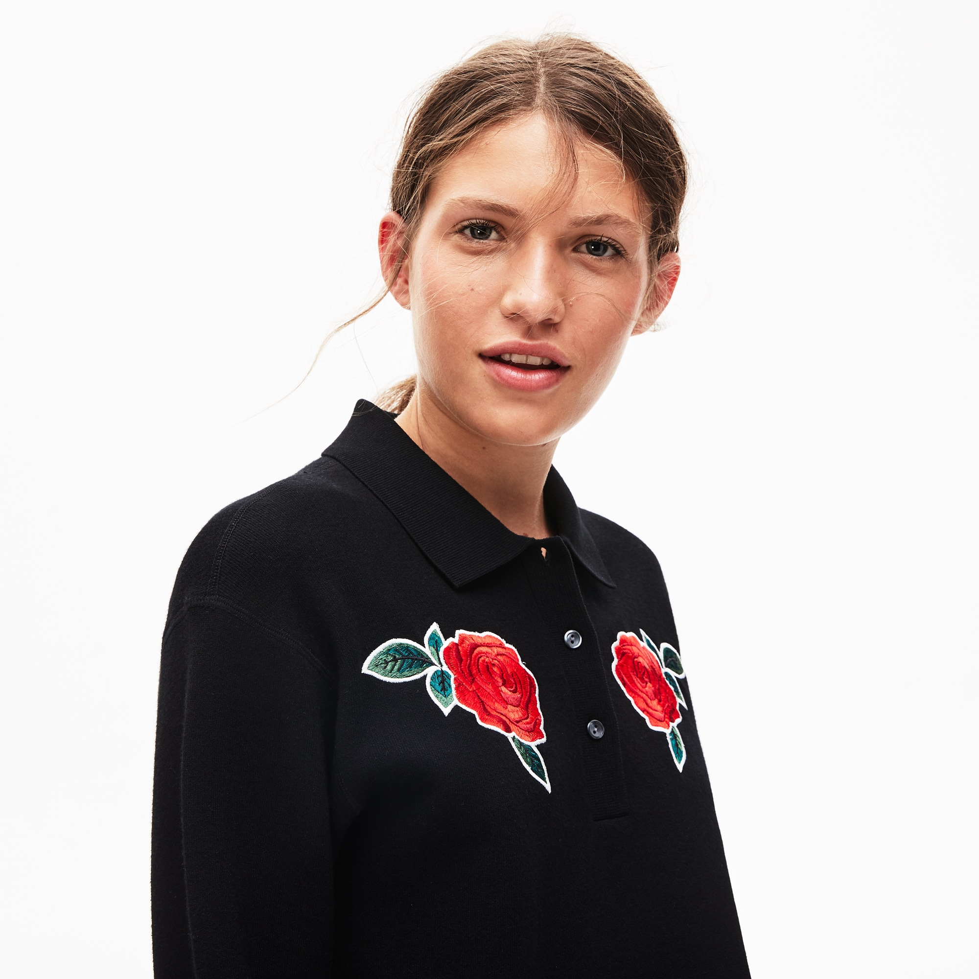 Lacoste Tops Women's LIVE Rose-Embroidered Cropped Sweater