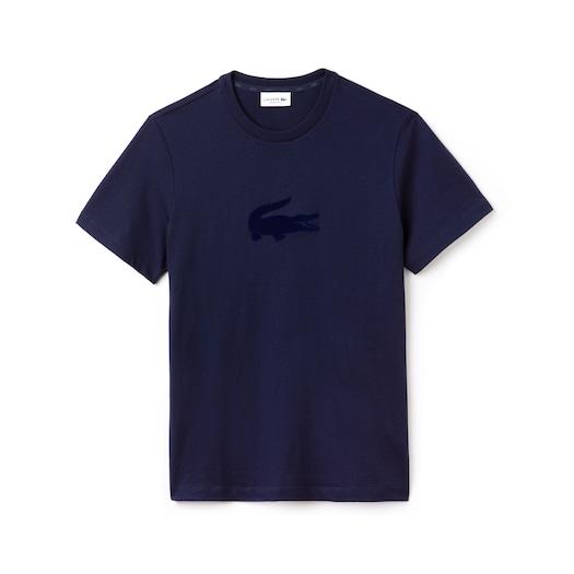라코스테 Lacoste Mens Crew Neck Oversized Crocodile Jersey T-shirt,Navy Blue - 166