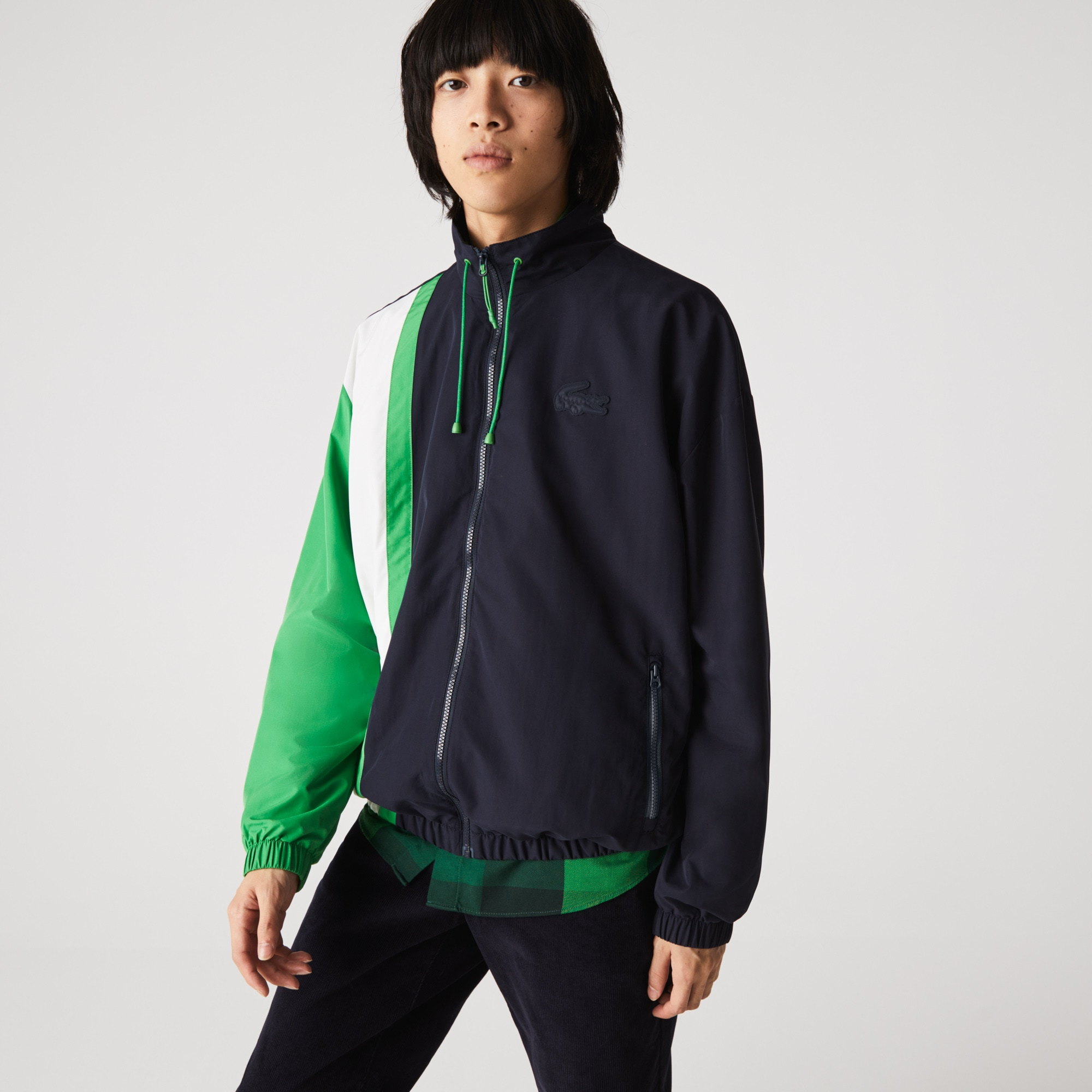 라코스테 맨 경량 발수 컬러블록 자켓 Lacoste Men's Lightweight Water-Resistant Colorblock Zip Jacket
