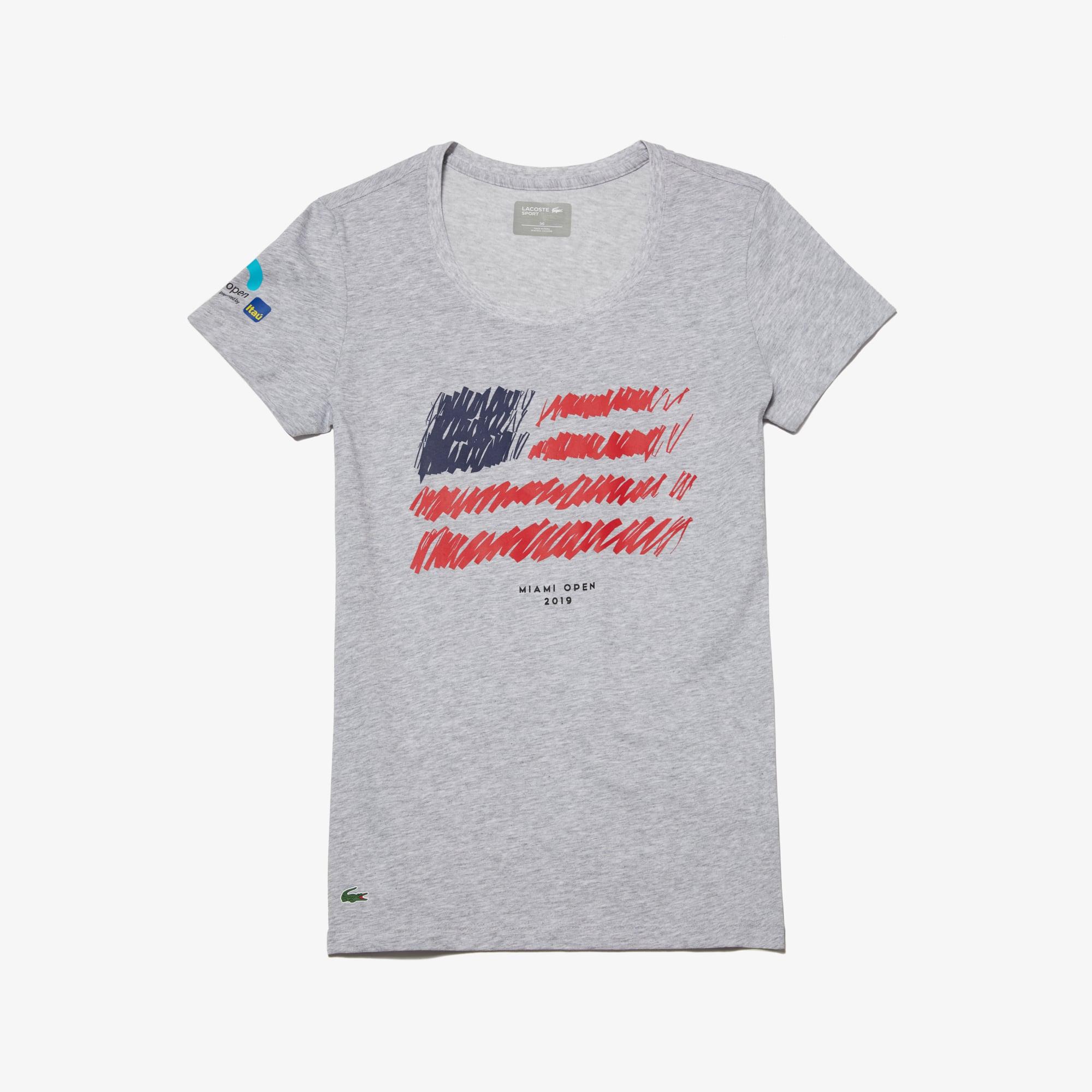 라코스테 우먼 스포츠 테니스 반팔 티셔츠, 마이애미 오픈 에디션 Lacoste Womens SPORT Miami Open Edition T-shirt,Grey Chine