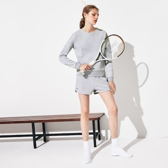 라코스테 스포츠 우먼 반바지 Lacoste Womens SPORT Tennis Fleece Shorts,Grey Chine