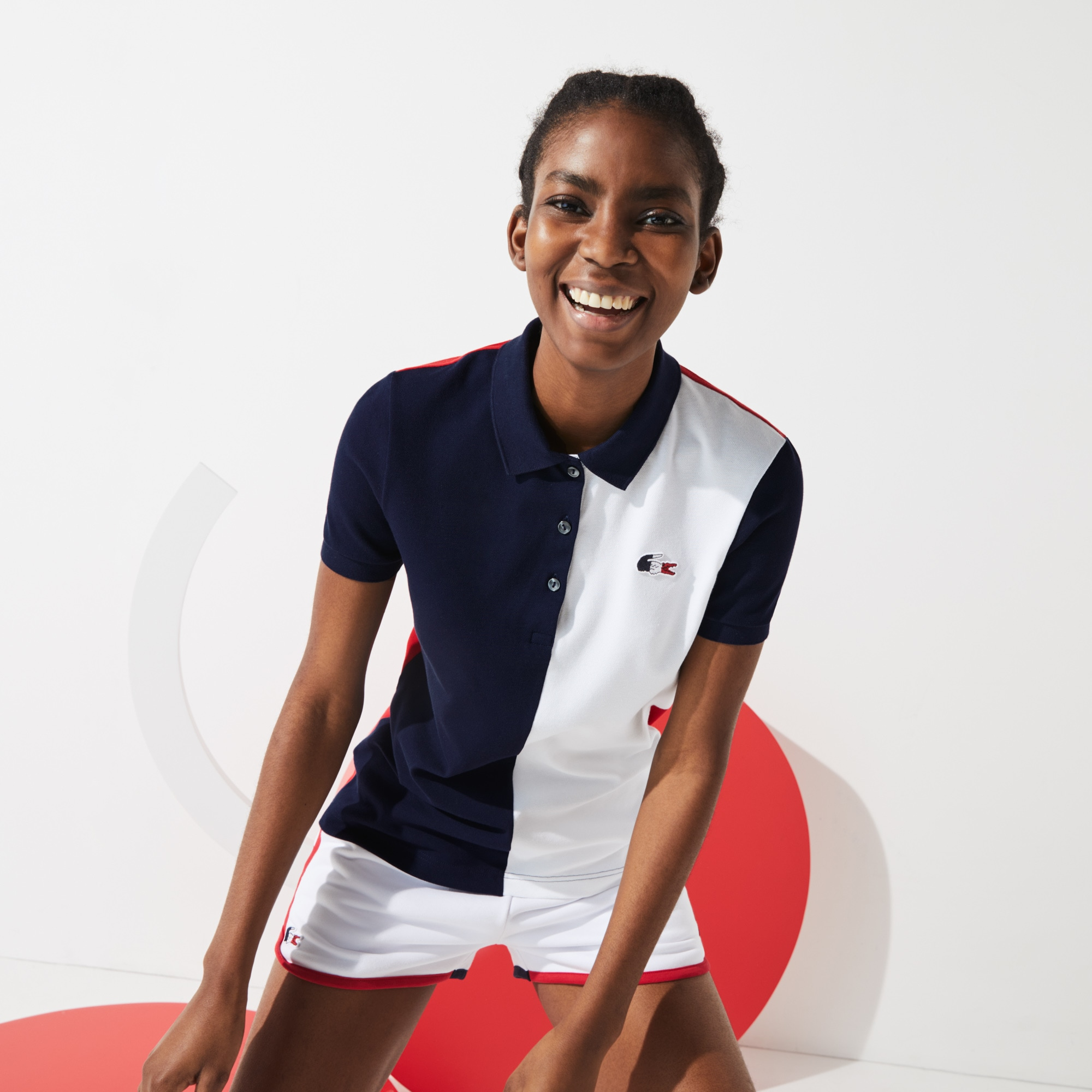 Lacoste Womens SPORT French Sporting Spirit Edition Two-Tone Cotton Polo Shirt