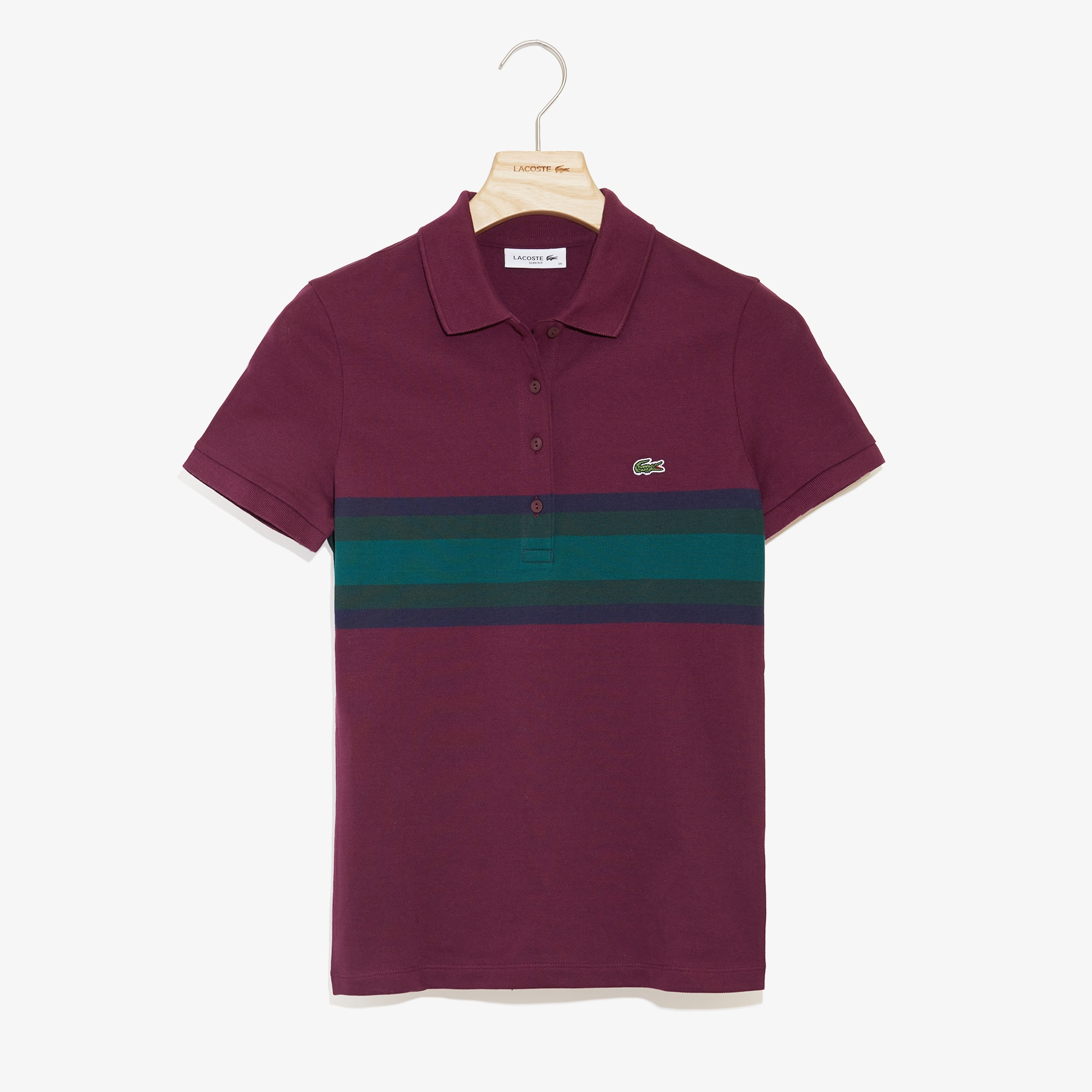 라코스테 우먼 폴로 셔츠 Lacoste Womens Color Block Stripe Polo