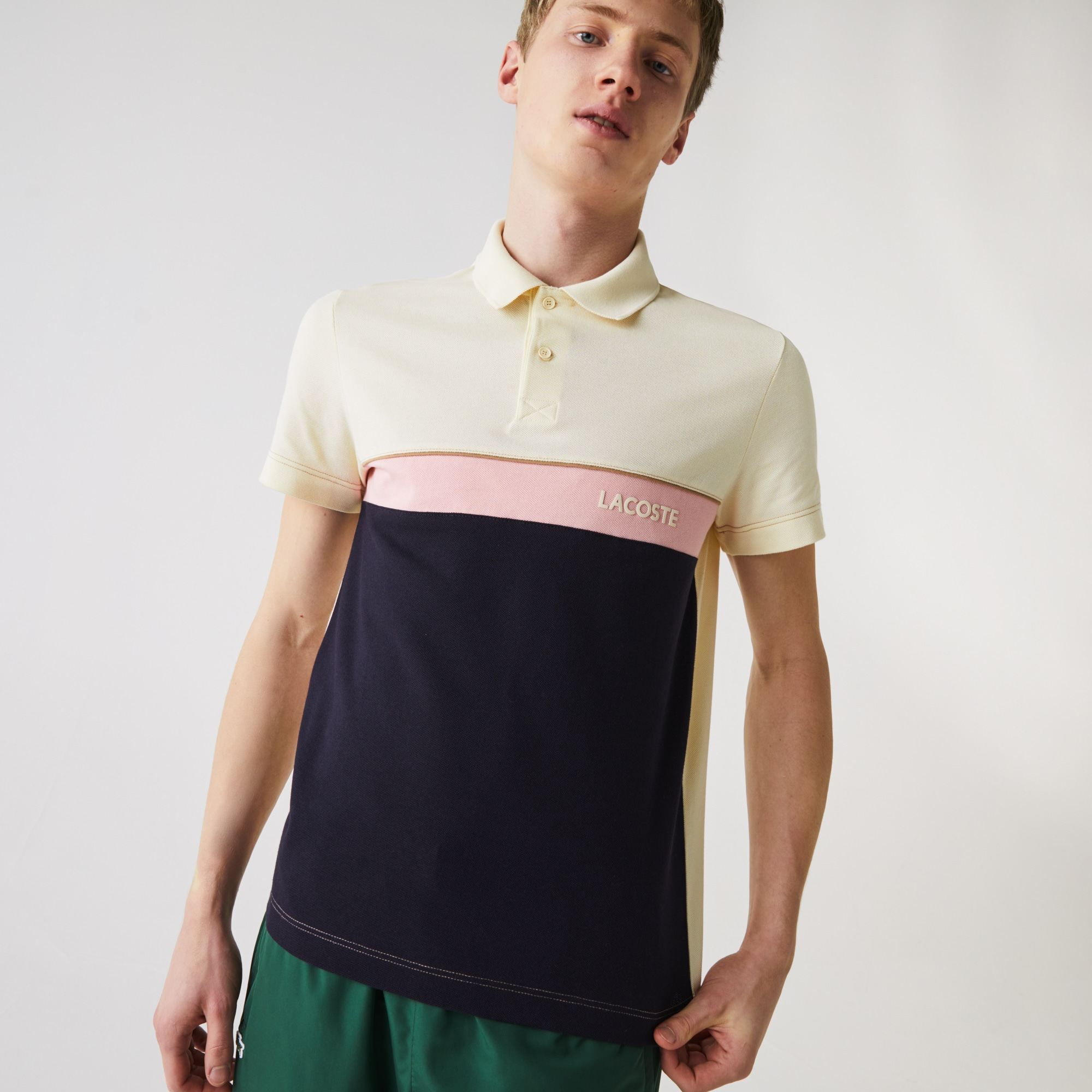 라코스테 Lacoste Men's Regular Fit Colorblock Cotton Pique Polo Shirt