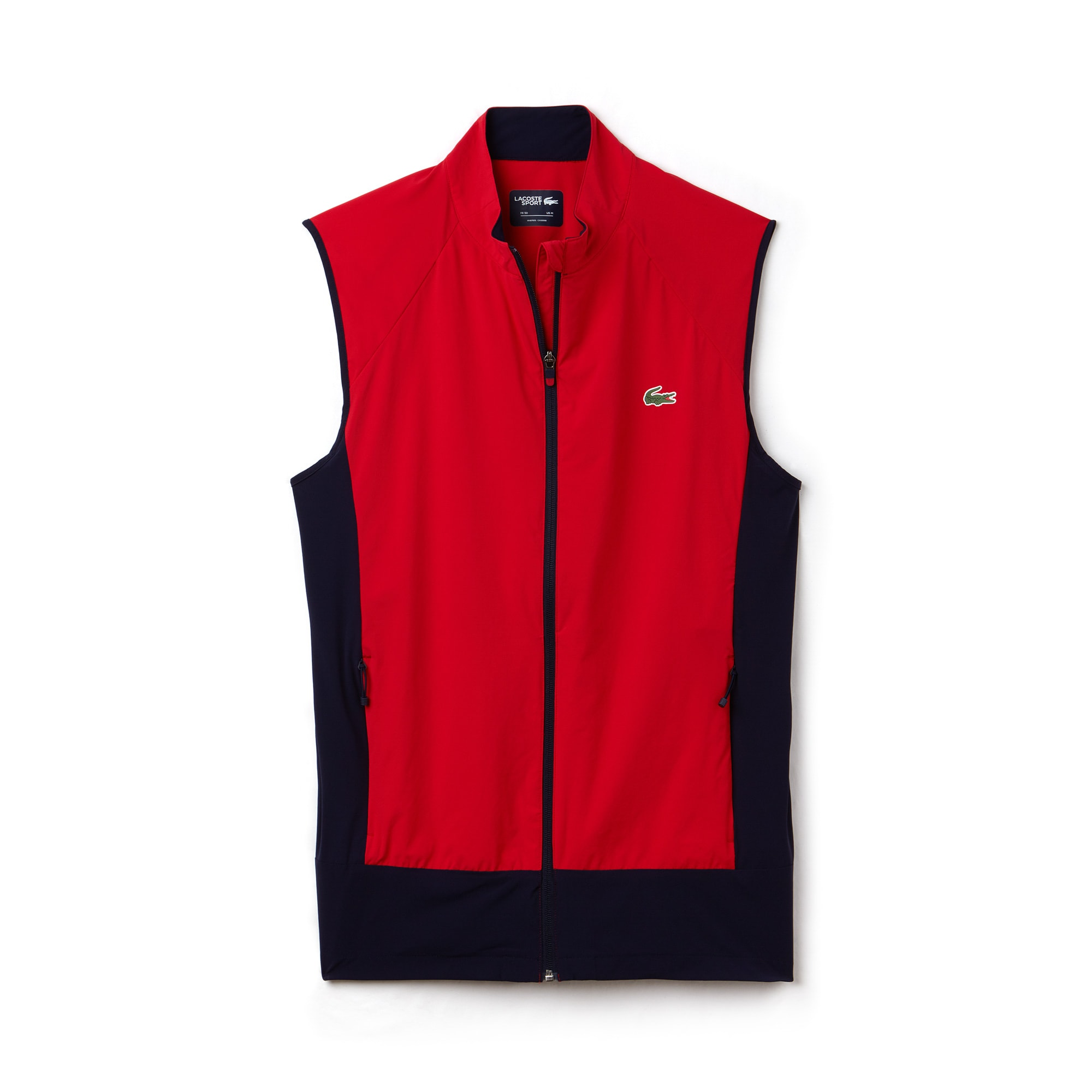 라코스테 Lacoste Mens SPORT Colorblock Technical Taffeta Golf Quilted Vest,red / navy blue