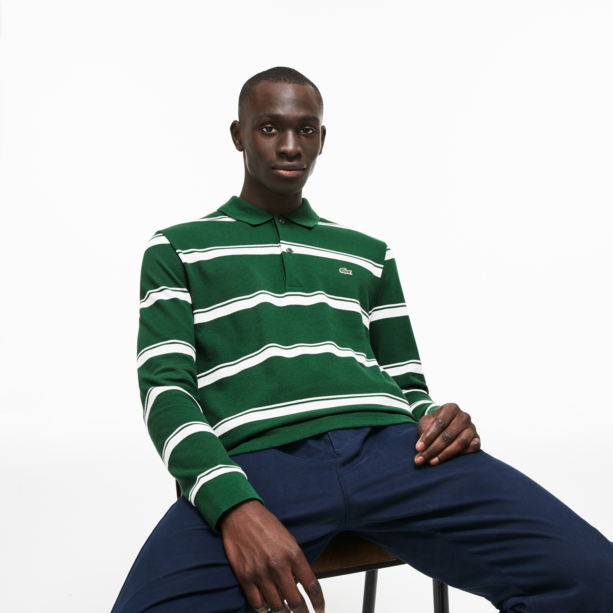 Men's Regular Fit Striped Petit Piqué Polo