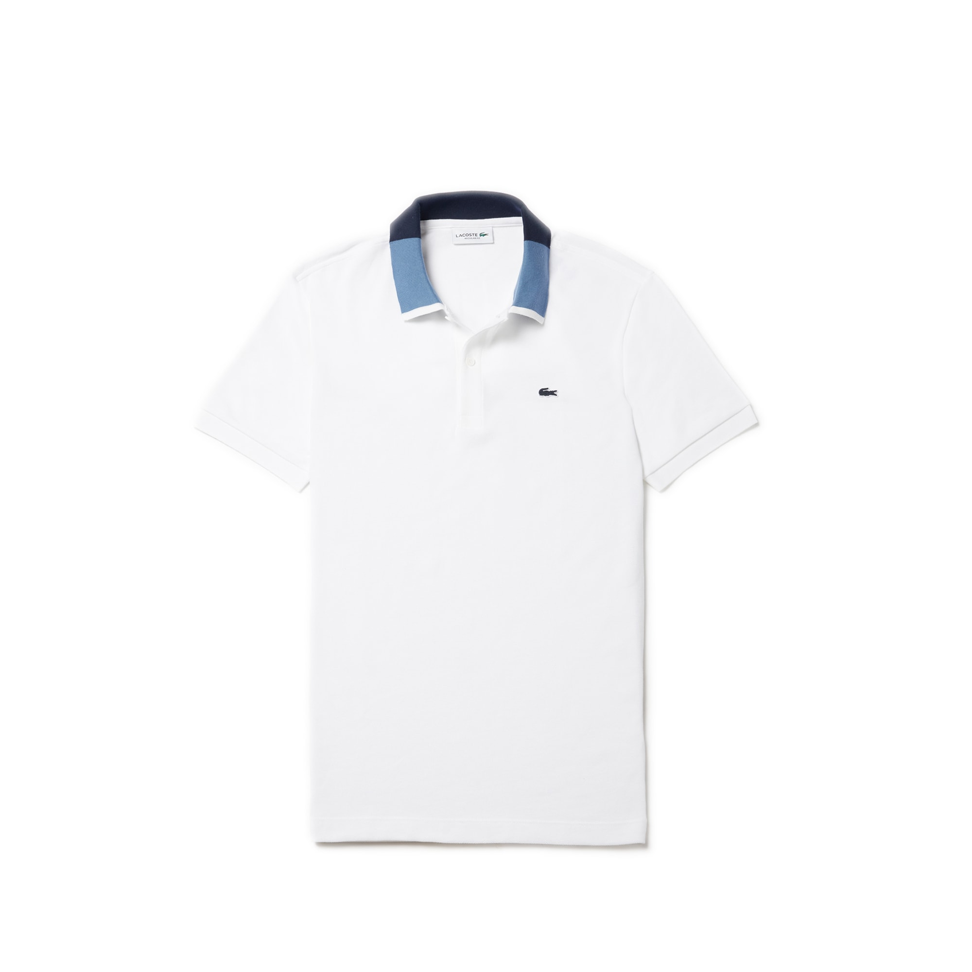 12bd66e8e092 Lacoste Men S Regular Fit Contrast PiquÉ Polo In White   Navy Blue   Blue