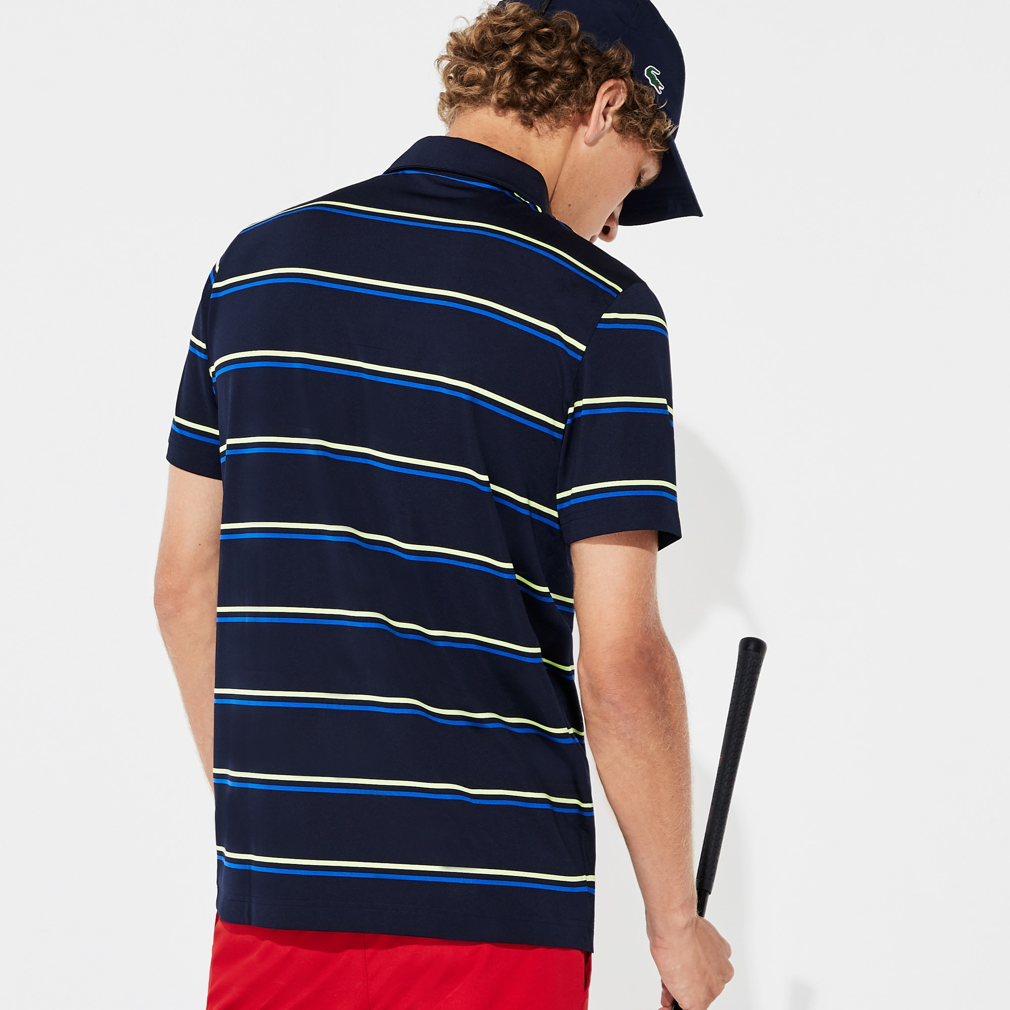 Men's SPORT Striped Breathable Jersey Golf Polo