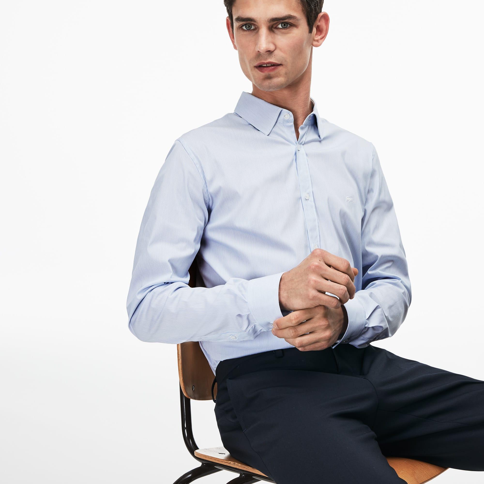 01ccf191e695cd Men's Slim Fit Striped Stretch Cotton Poplin Shirt   LACOSTE