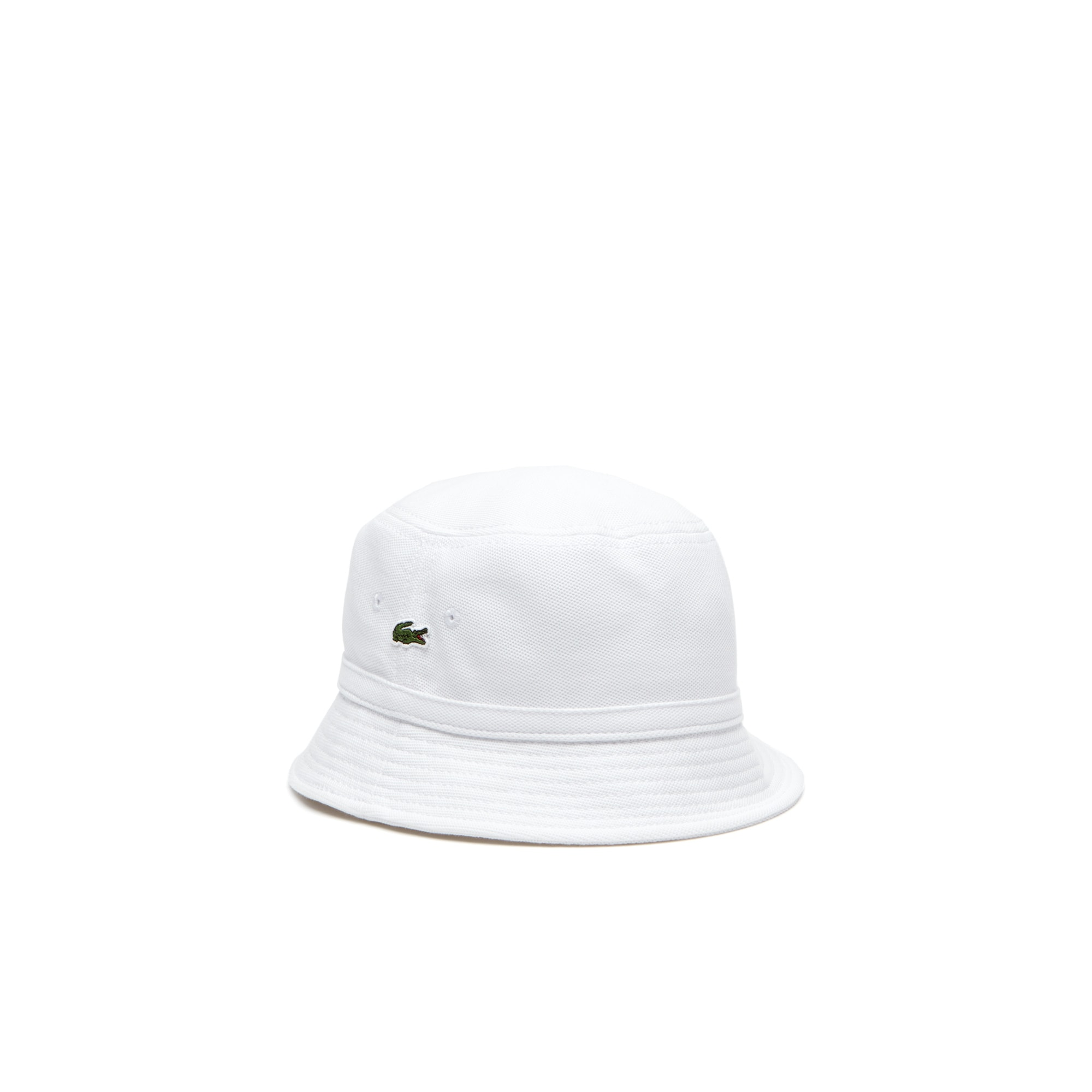 라코스테 Lacoste Mens Cotton pique bucket hat,white