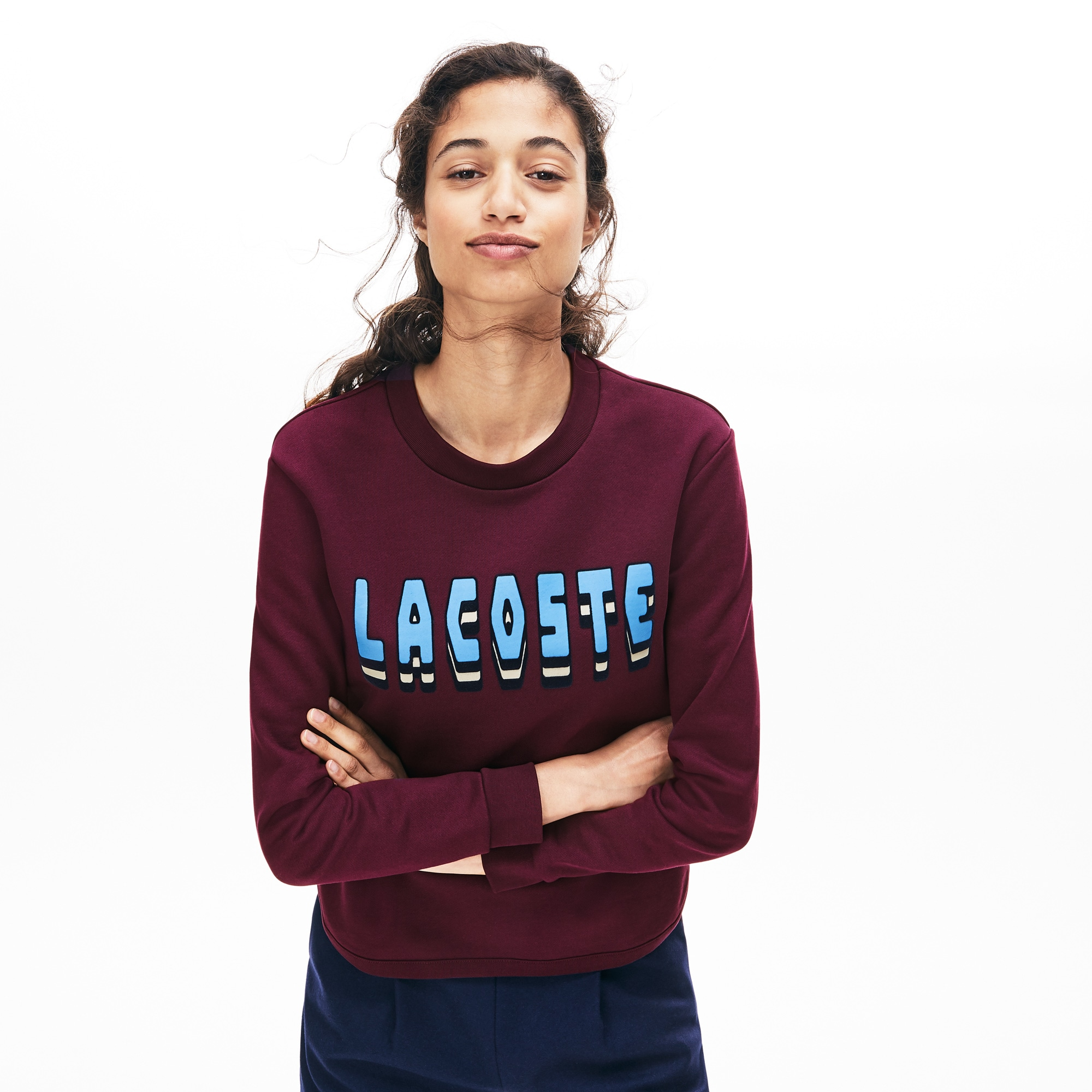 Women's Crewneck 3D-Lettering Cotton Blend Fleece Sweatshirt