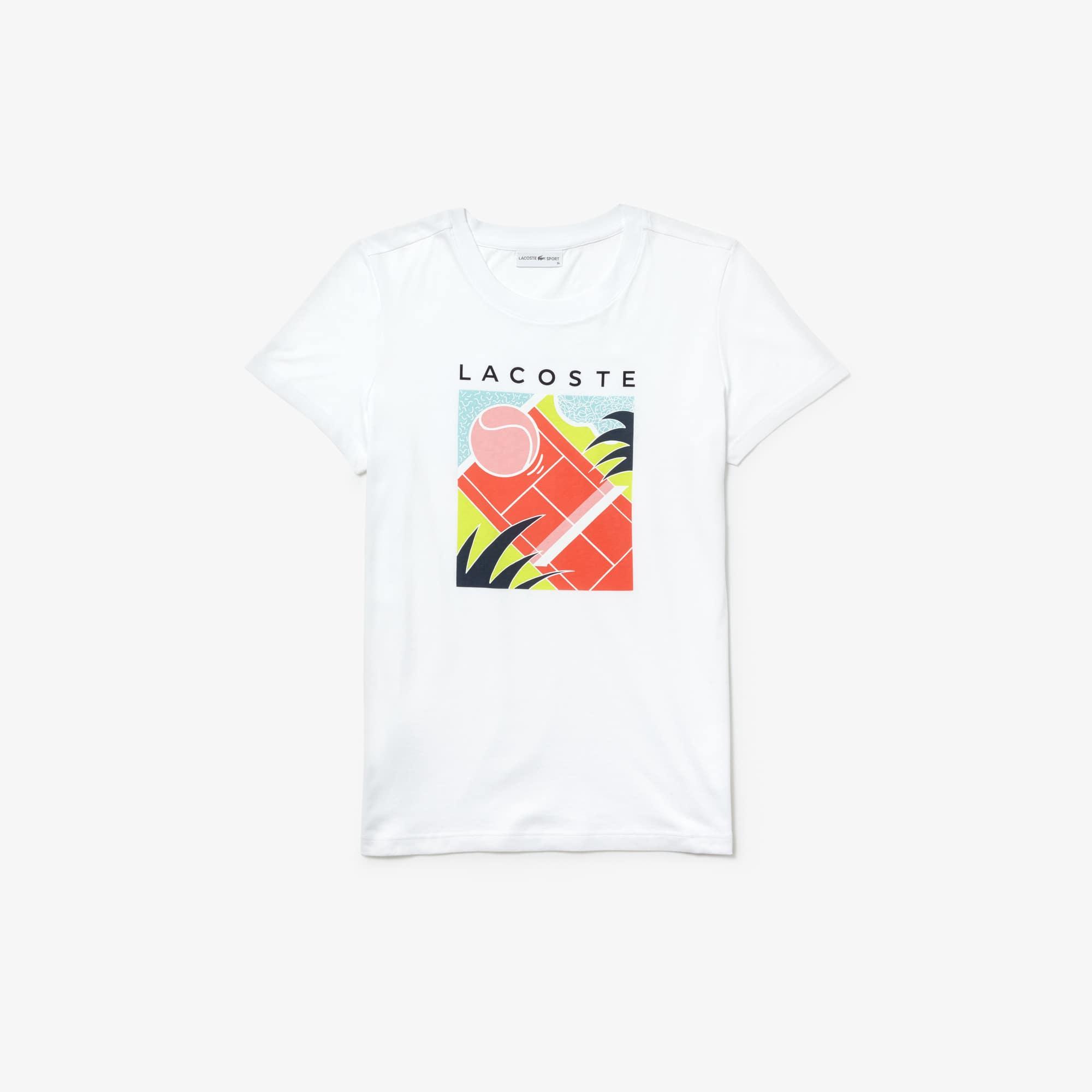 라코스테 Lacoste Womens SPORT Flowing Cotton Tennis T-shirt,white / flashy yellow / blue / light blue / navy b