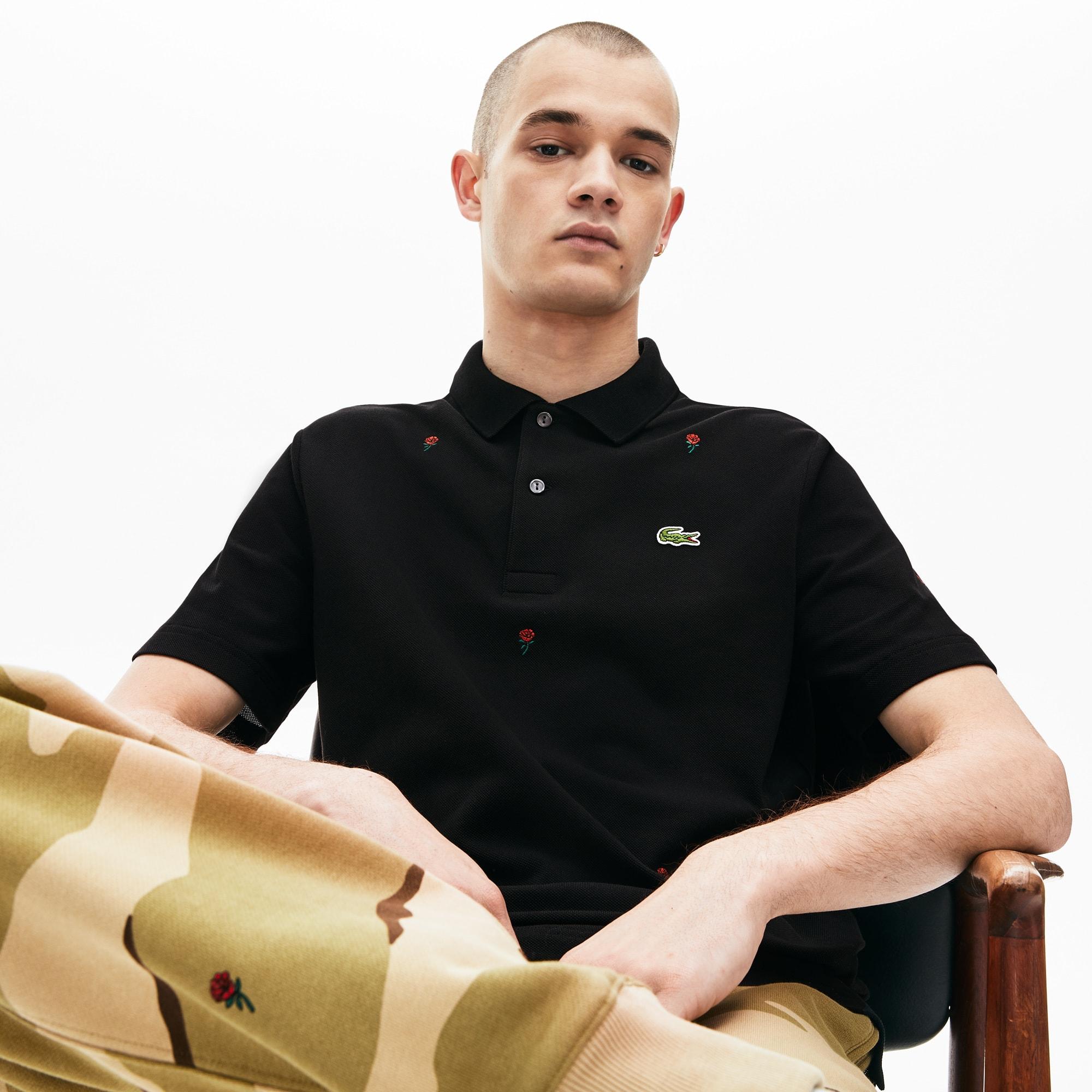 Lacoste Tops Men's LIVE Classic Fit Rose Embroidery Cotton Piqué Polo