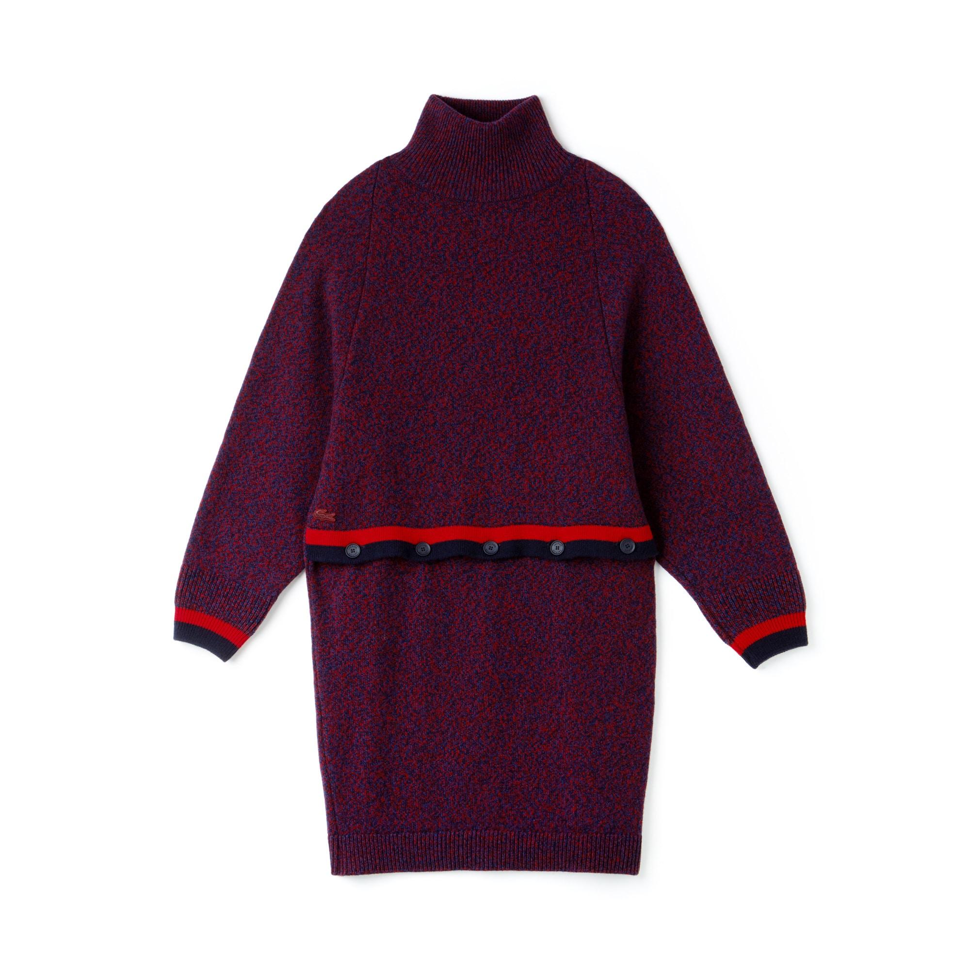 라코스테 피케 원피스 버건디 Lacoste Womens Made In France Contrast Accents Jersey Sweater Dress,PHARE MOULINE/LIGHTHOUSE