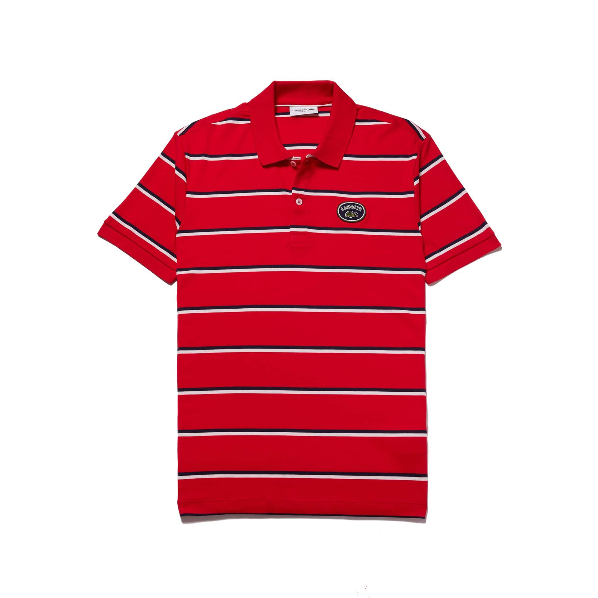 Men's Regular Fit Striped Cotton Interlock Polo