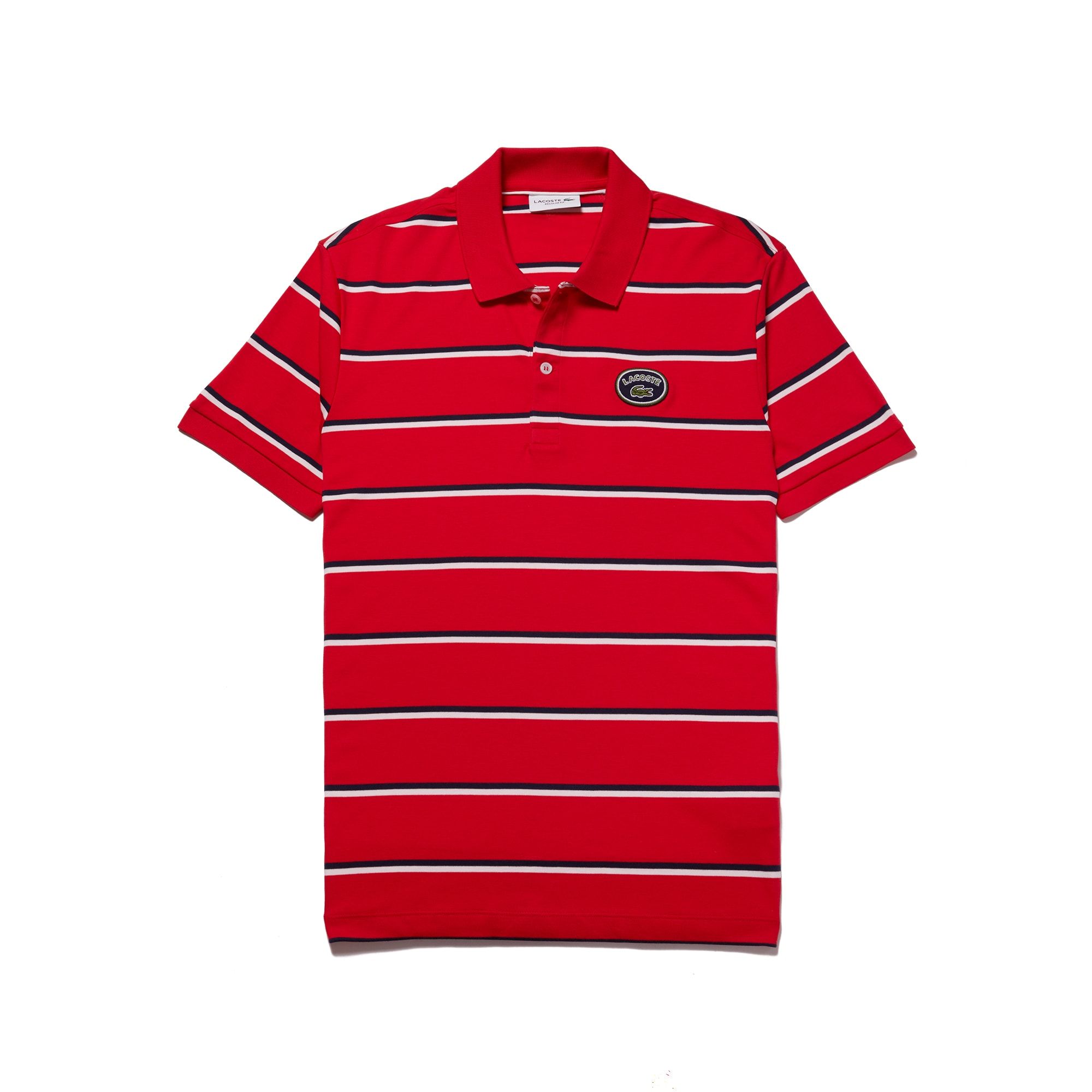 라코스테 Lacoste Mens Regular Fit Striped Cotton Interlock Polo,imperial red/flour-navy b