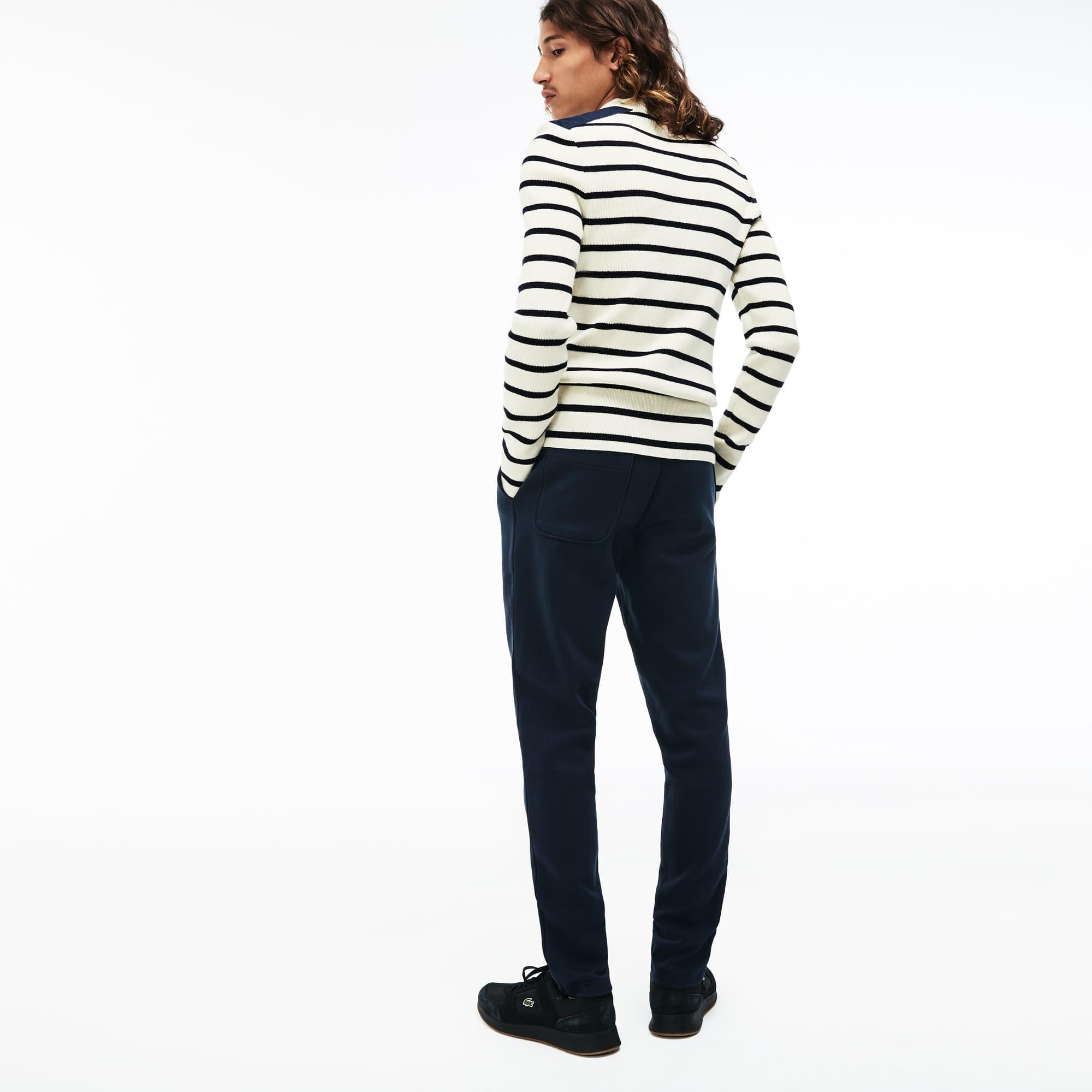 Men's LIVE Crew Neck Striped Interlock Sweater
