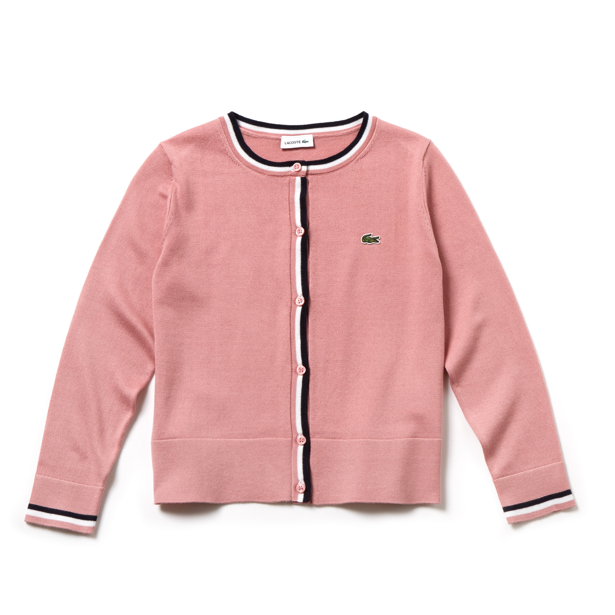 Girls' Contrast Finishes Cotton Cardigan