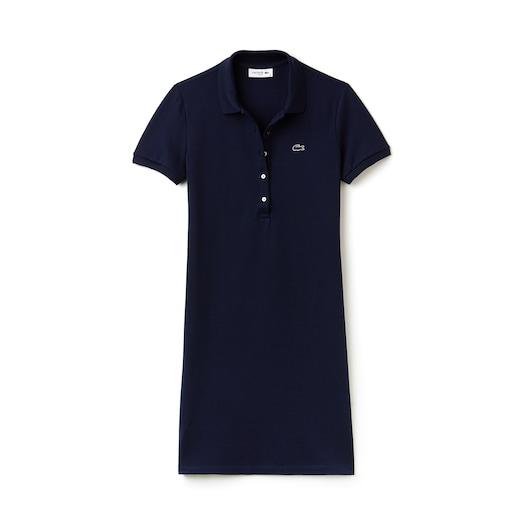라코스테 우먼 폴로 원피스 Lacoste Womens Stretch Cotton Mini Pique Polo Dress,Navy Blue - 166