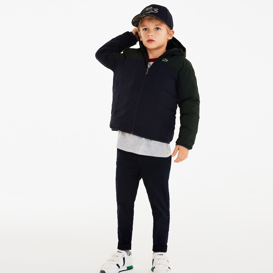 Boys' Hooded Color-Blocked Quilted Jacket