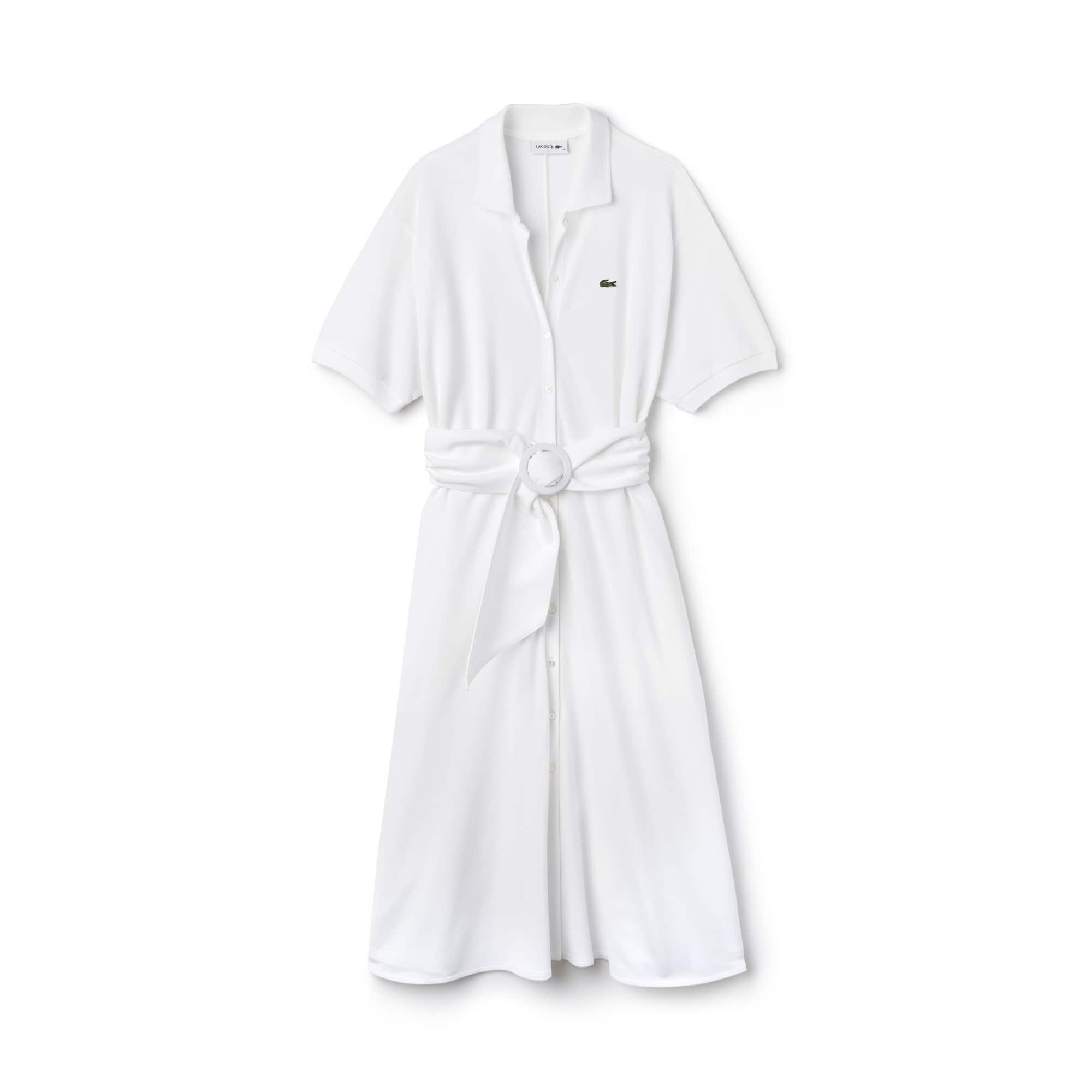 라코스테 피케 원피스, 벨티드 피케 셔츠 드레스 화이트 Lacoste Womens Belted Buttoned Pique Polo Dress,WHITE