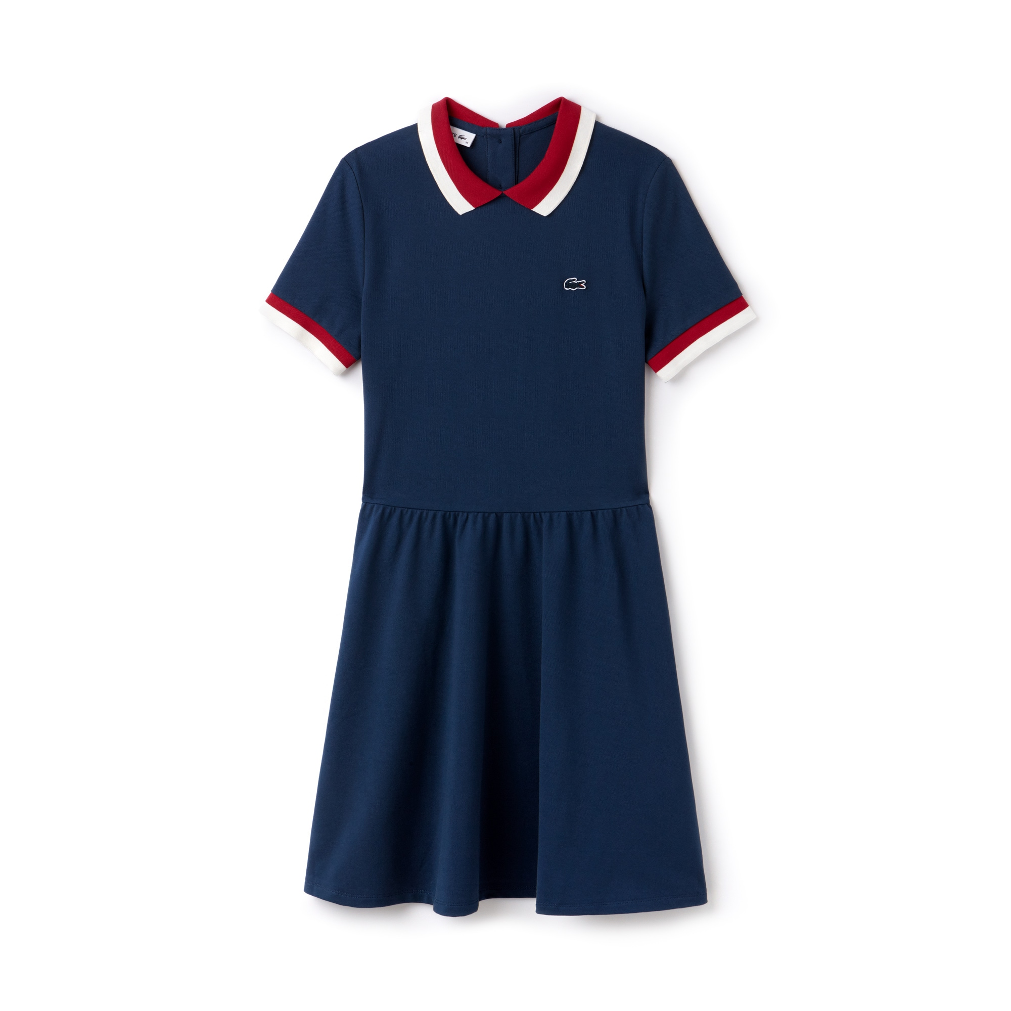 라코스테 콘트라스트 스트레치 미니 피케 폴로 원피스 Lacoste Womens Contrast Finishes Flared Stretch Mini Pique Polo Dress,azurite/persian red-flour