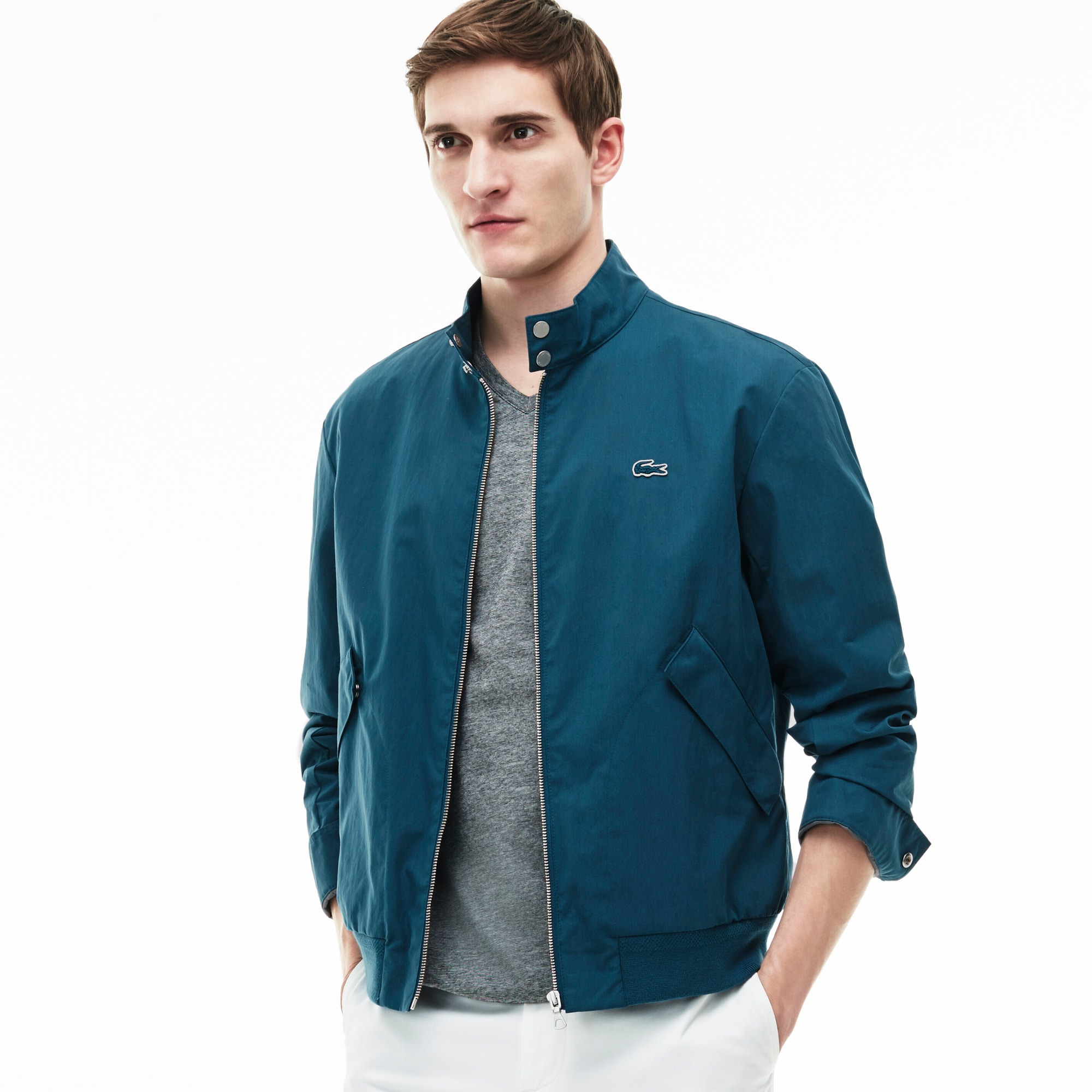 Men's Cotton Twill Zippered Harrington Jacket