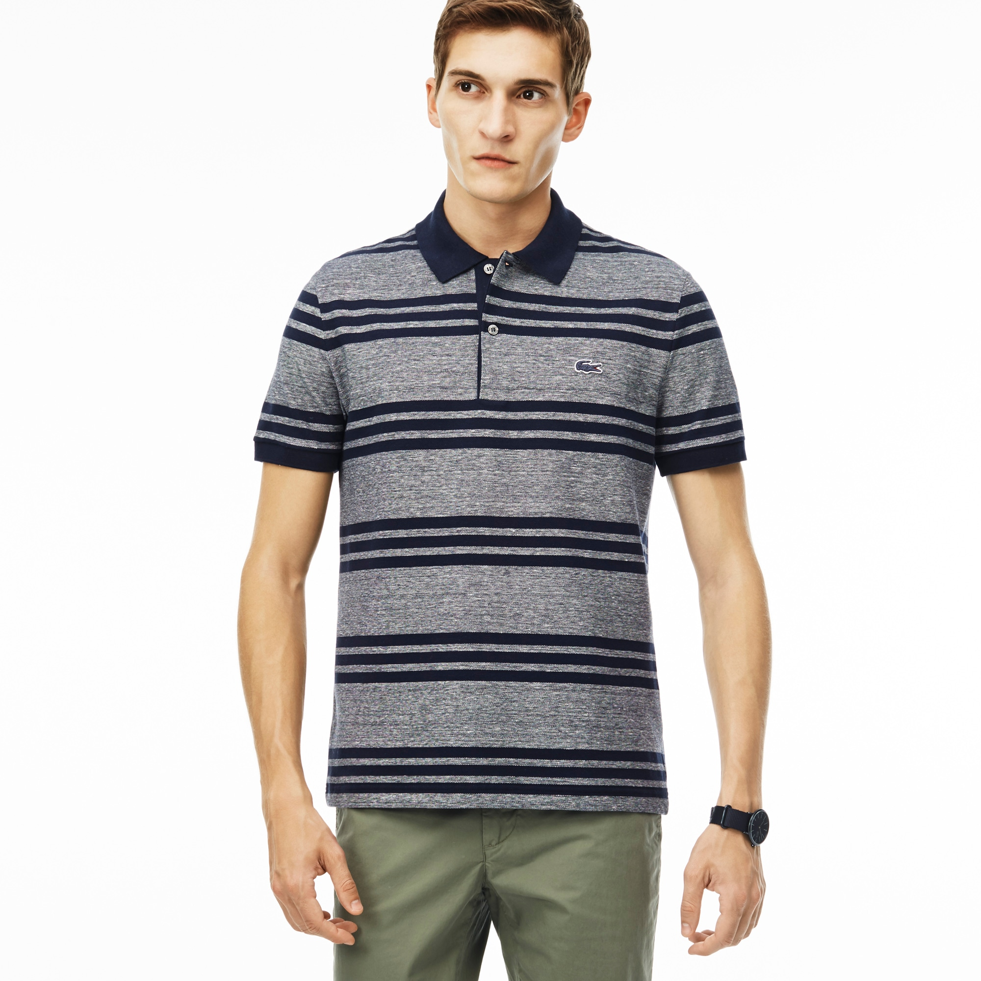 Polo shirts men 39 s lacoste polos men 39 s fashion for Lacoste stripe pique polo shirt