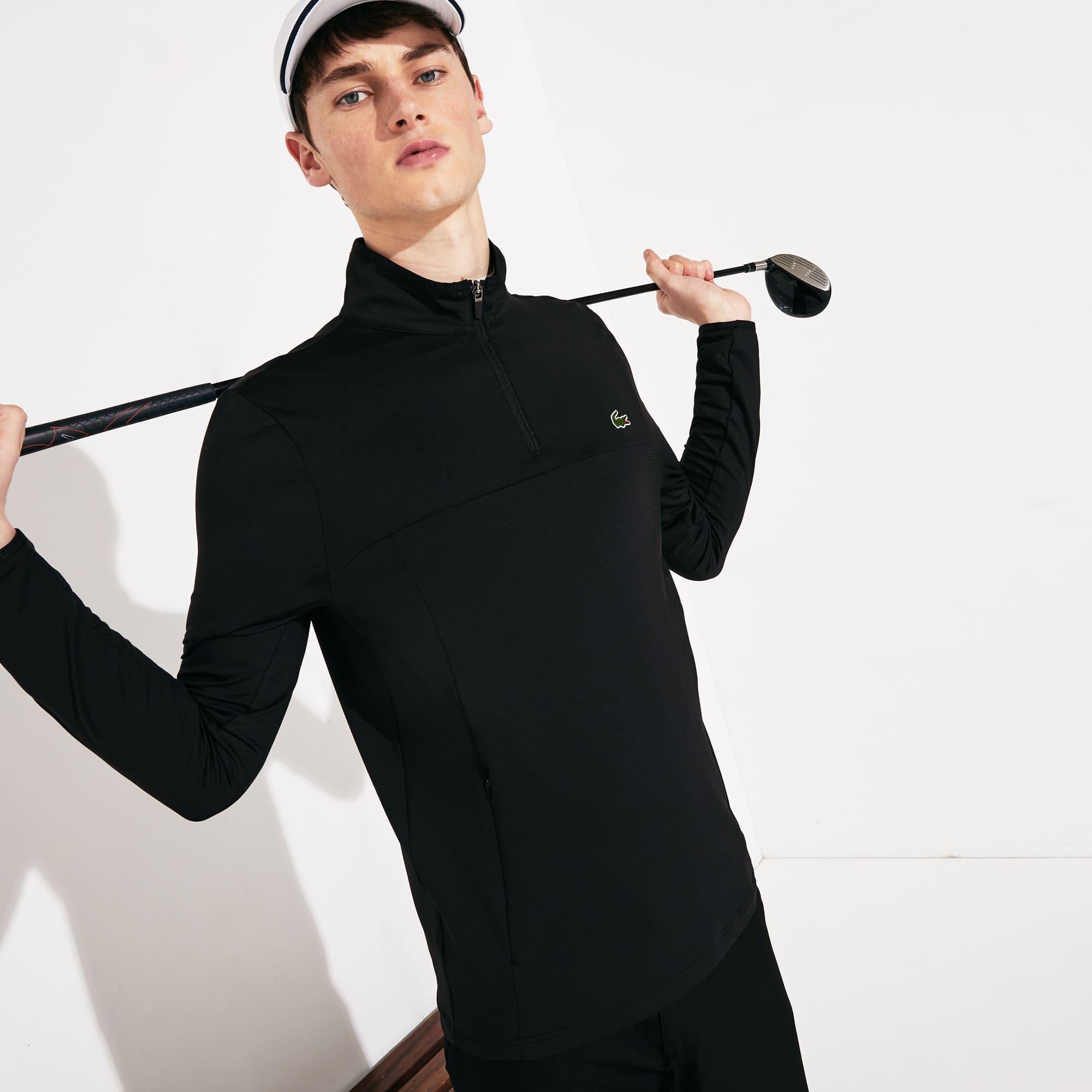 라코스테 스포츠 하프 집업 맨투맨 Lacoste Mens SPORT Stretch Zippered Collar Sweatshirt,Black - 031