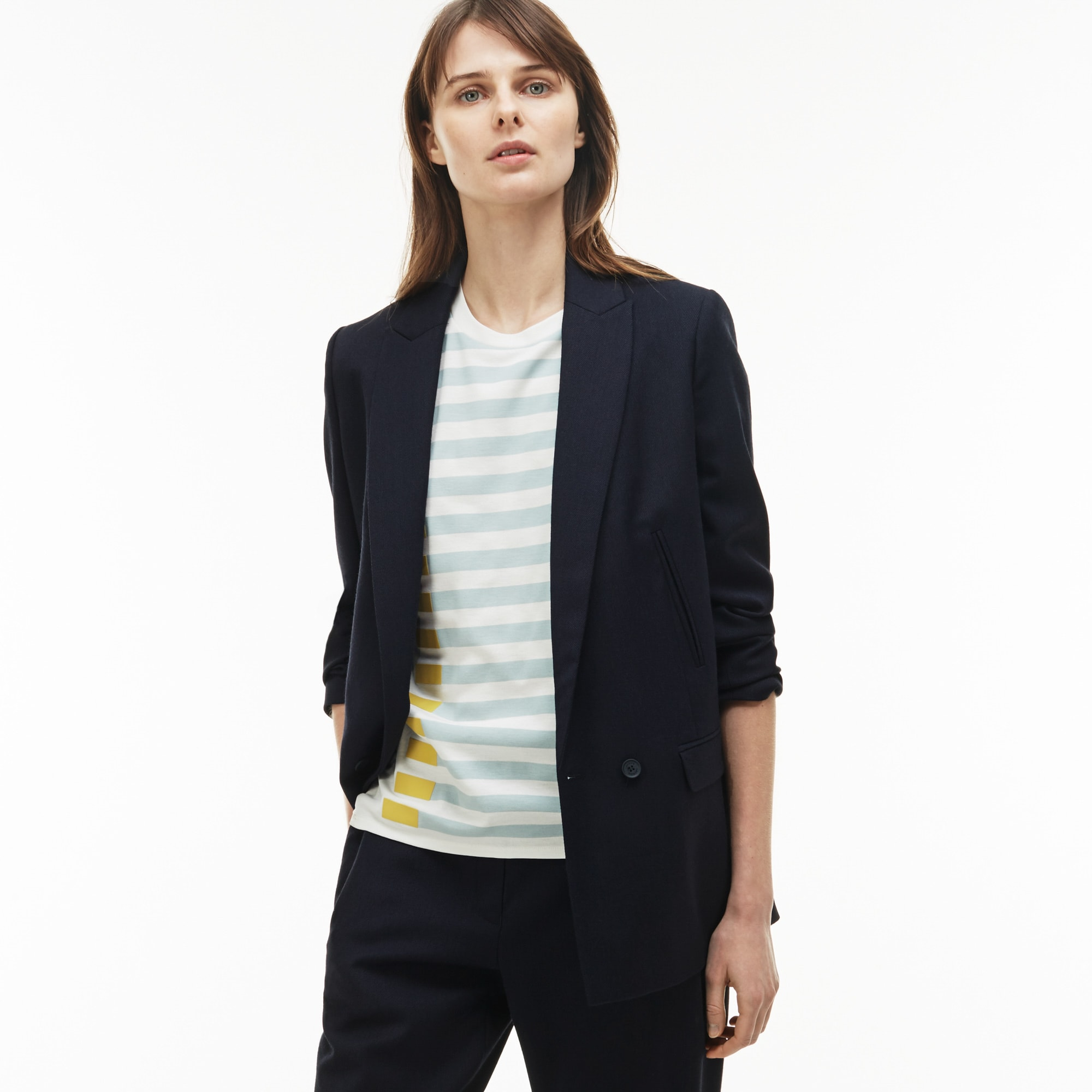 Women'S Straight Cut Buttoned Wool Piqué Jacket in Navy Blue from Lacoste