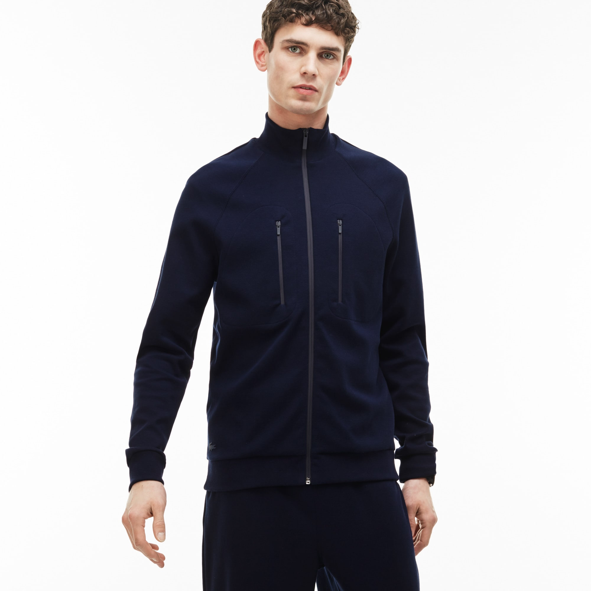 Men's Zip Stand-Up Collar Cotton Milano Knit Sweatshirt