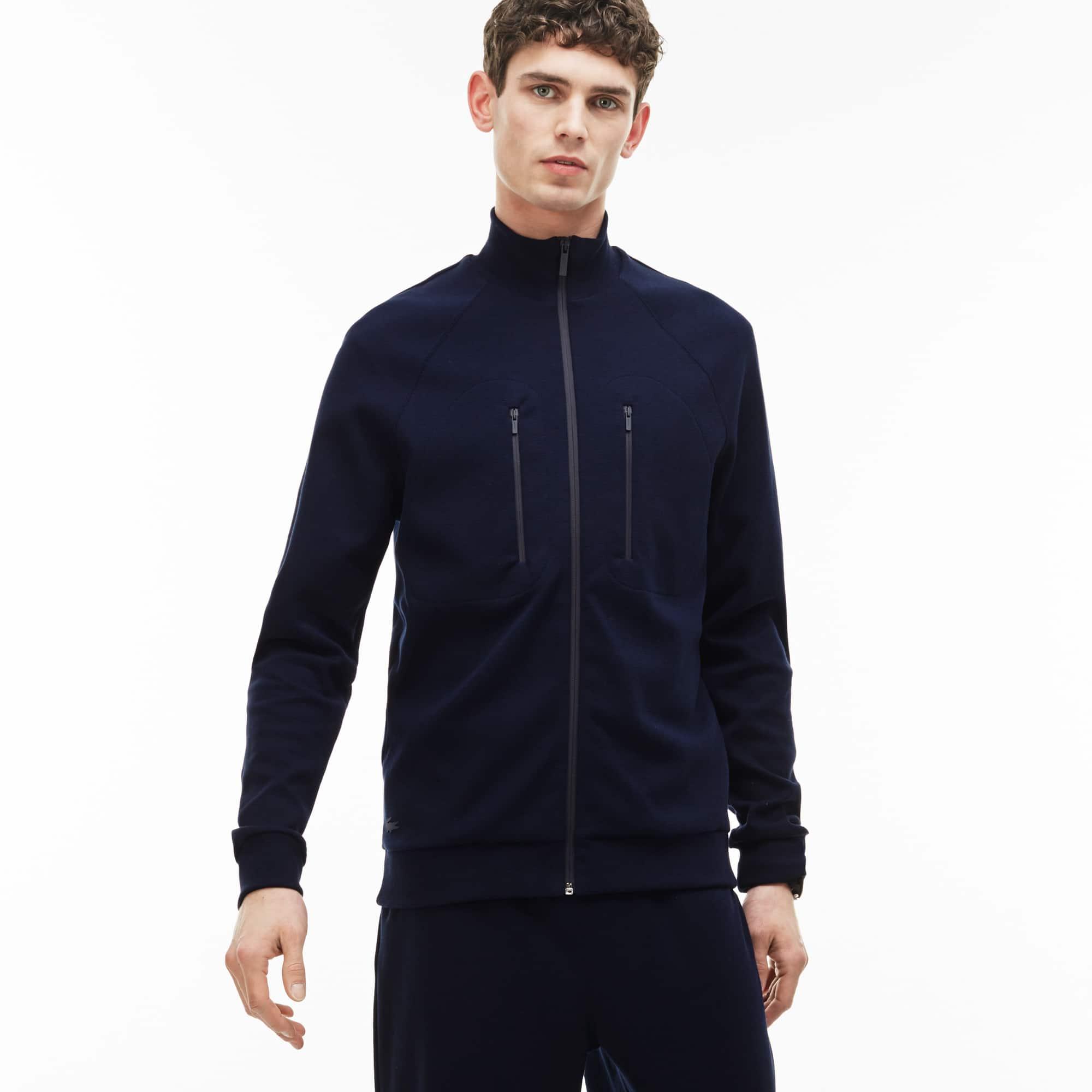 Men's Zip Stand-Up Collar Cotton Milano Knit Sweatshirt