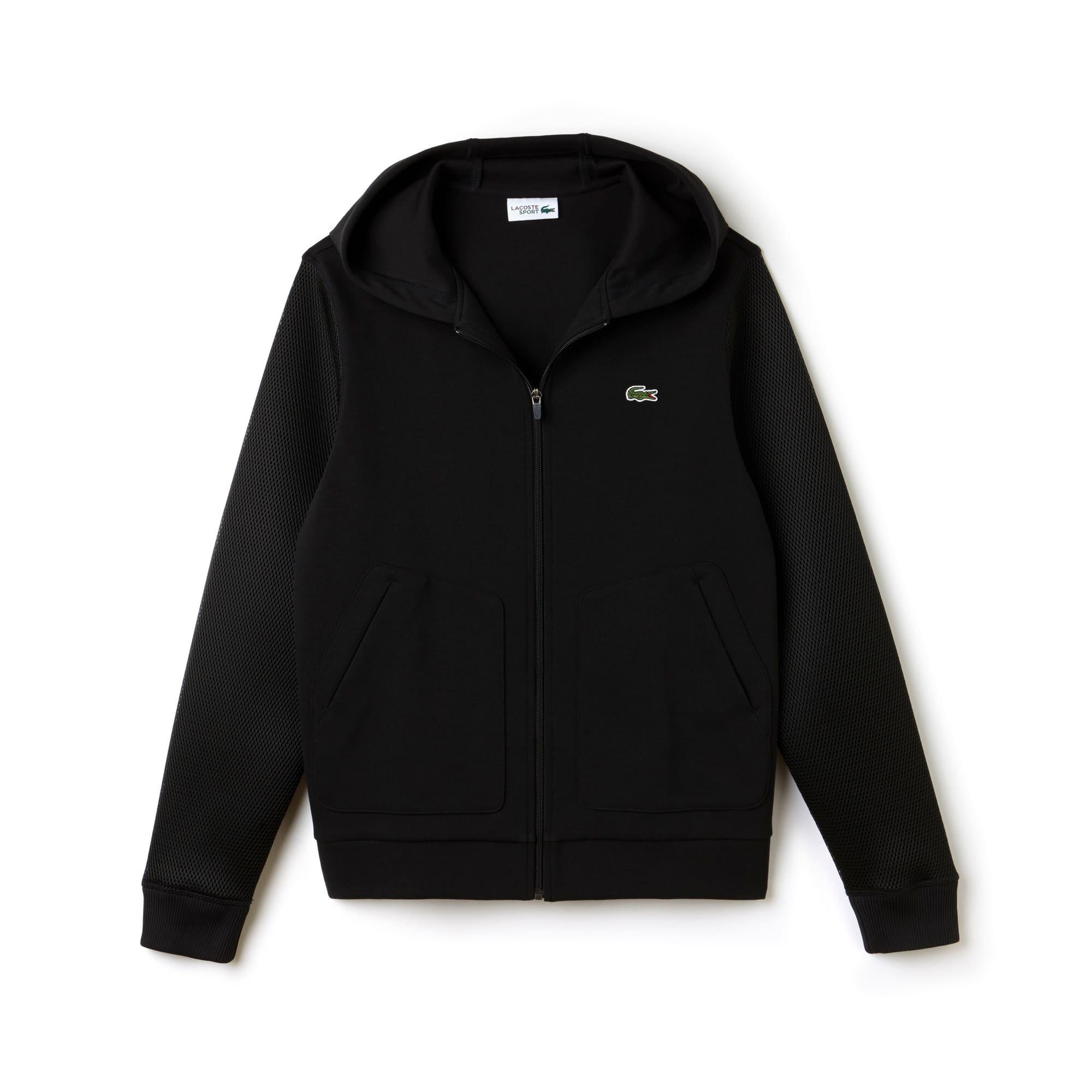 라코스테 Lacoste Mens SPORT Tennis Fleece And Mesh Zip Sweatshirt,BLACK
