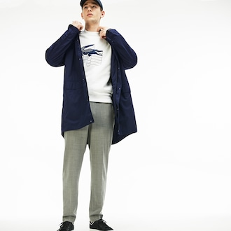 Mens 라코스테 Lacoste Motion Collapsible Hooded Ultra Light Raincoat,Navy Blue