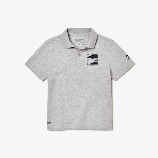 라코스테 보이즈 폴로 반팔티 Lacoste Boys SPORT Novak Djokovic Cotton Polo,Grey Chine / Navy Blue