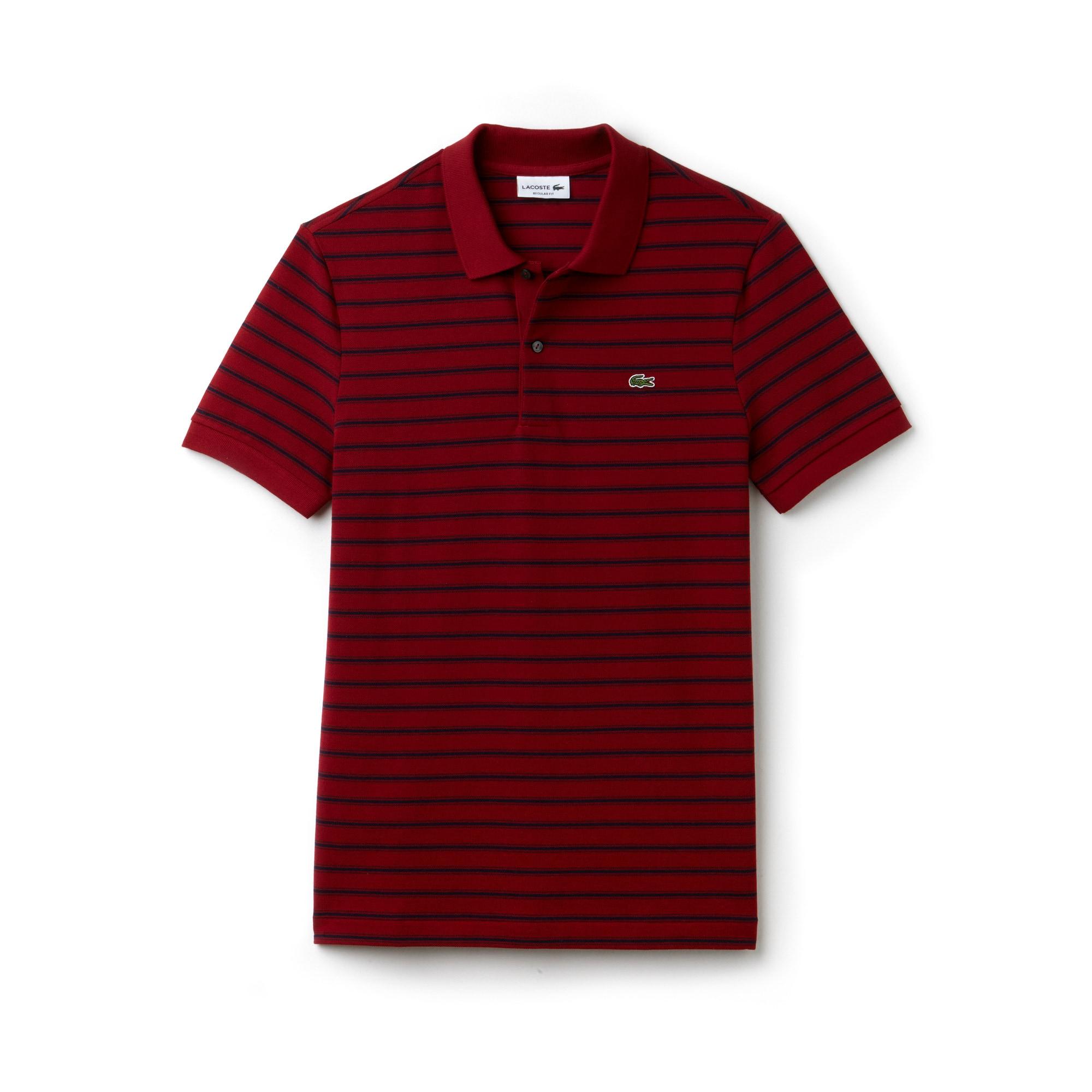 Men's Lacoste Regular Fit Striped Cotton Petit Piqué Polo