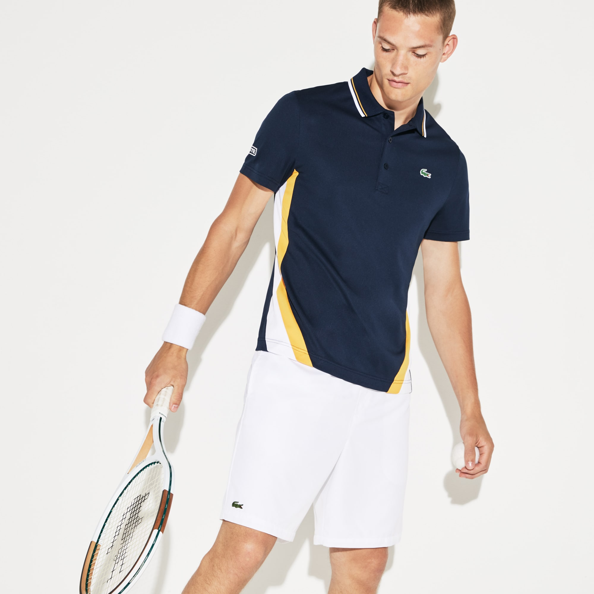 Men's SPORT Colorblock Bands Technical Piqué Tennis Polo