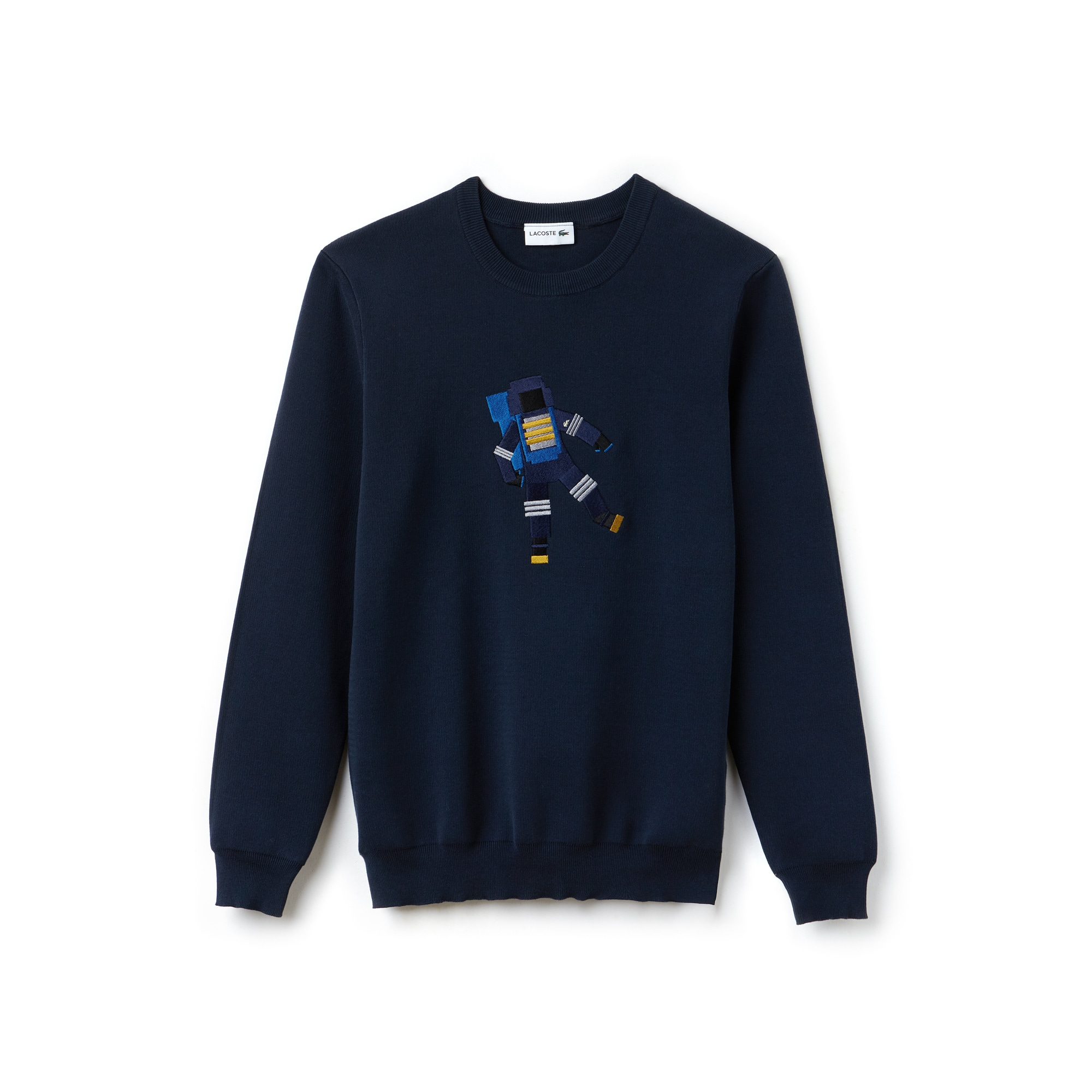 Men's Crew Neck Astronaut Embroidery Cotton Interlock Sweater