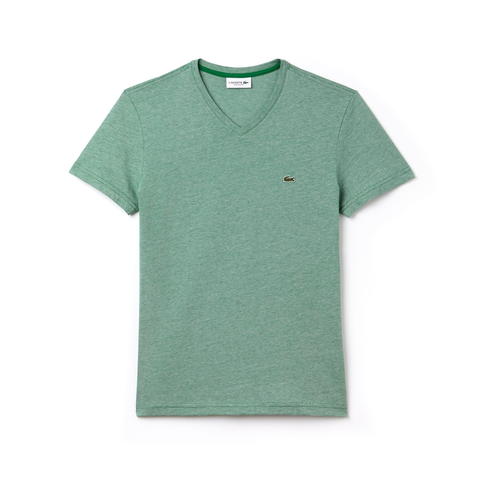 Men's V-Neck Pinstriped Cotton Jersey T-shirt
