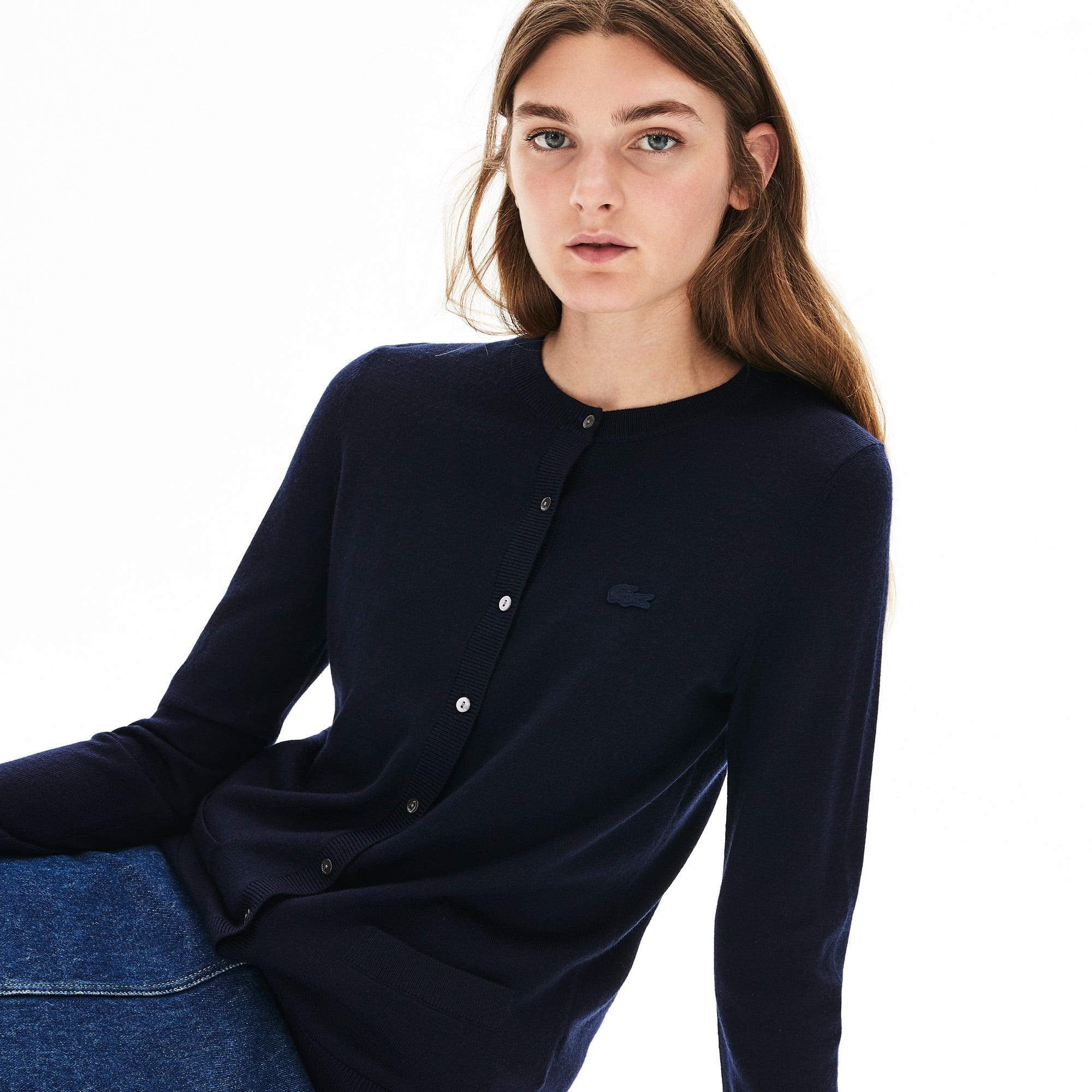 Women's Contrast Edge Wool Cardigan