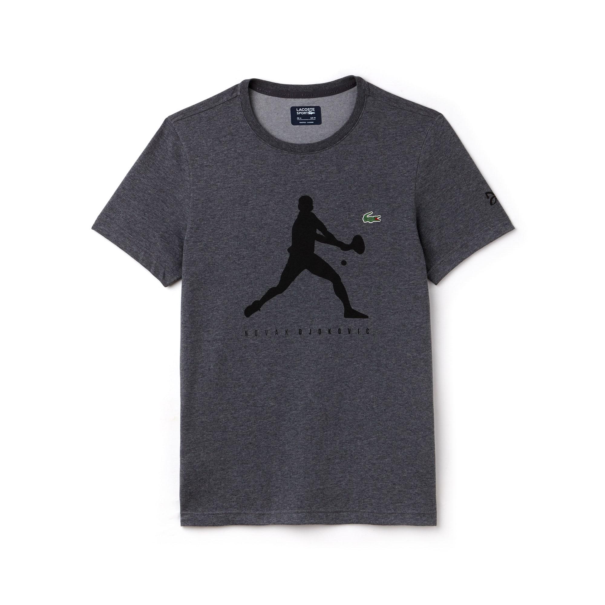라코스테 Lacoste Mens SPORT Tennis T-Shirt - Novak Djokovic Supporter Collection,grey chine / black