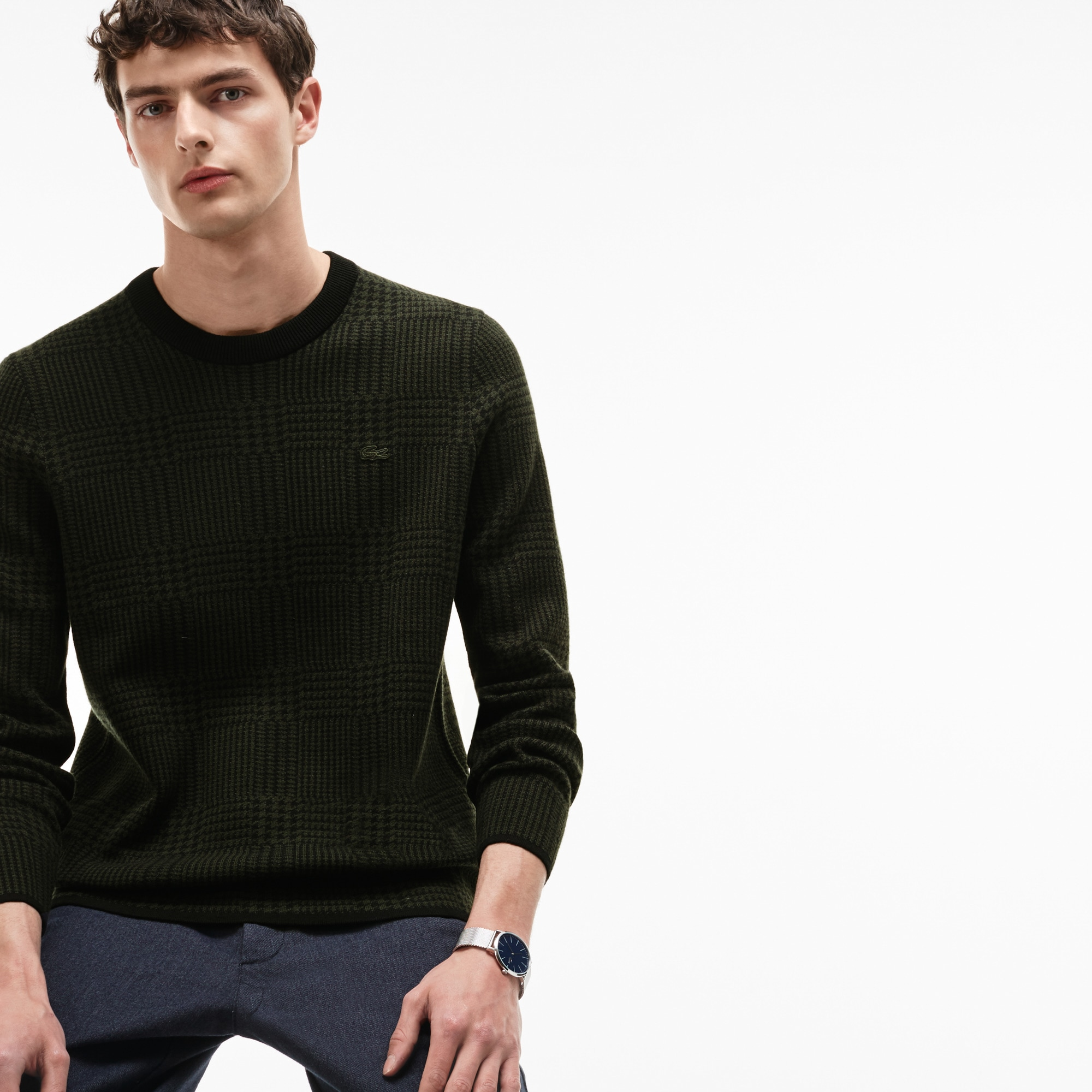 Men's Crew Neck Print Wool And Cotton Jacquard Sweater