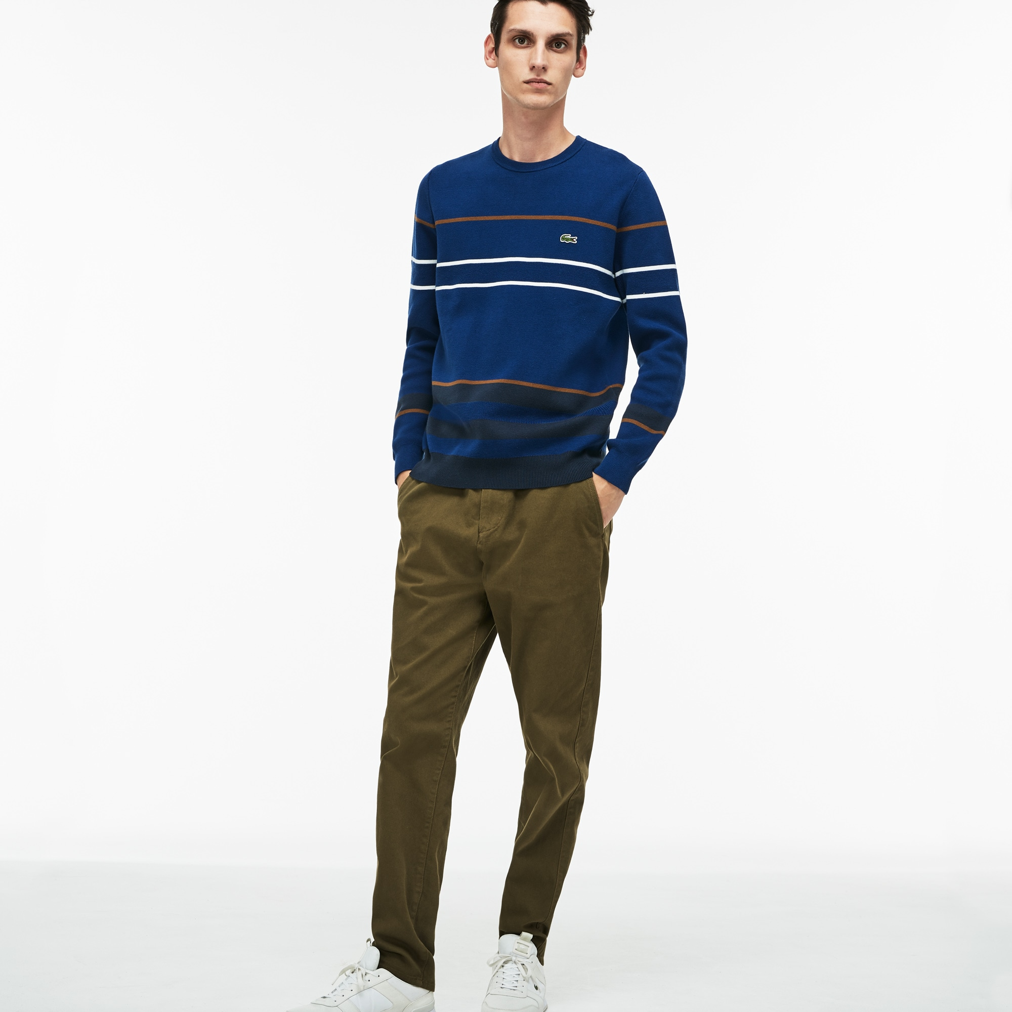Men's Crew Neck Multicolor Striped Milano Cotton Sweater
