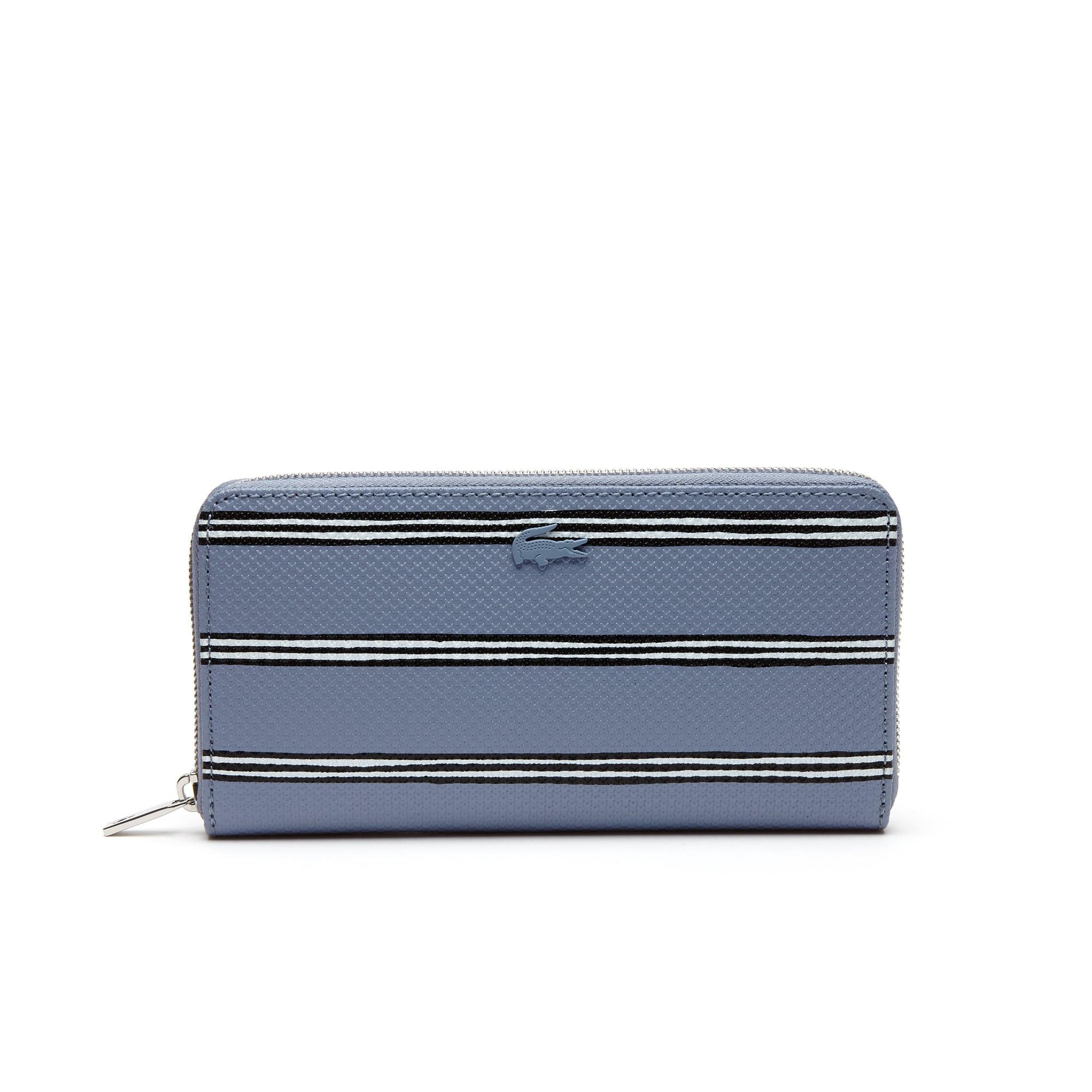라코스테 장지갑 Lacoste Womens Chantaco Striped Print Pique Leather 12 Card Zip Wallet,STONEWASH STRIPE